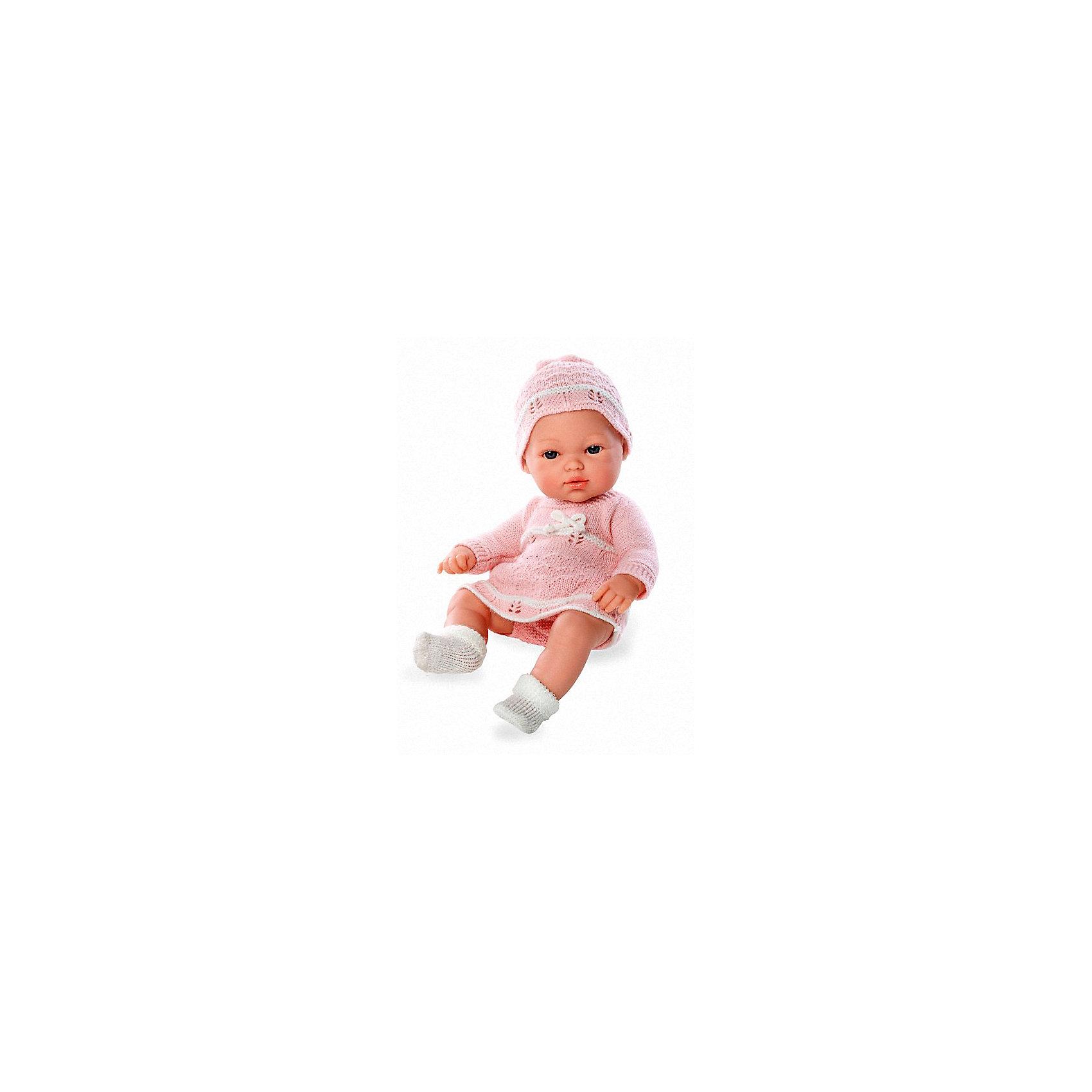Пупс Блондинка, в розовом вязаном платье и шапочке, 33см, AriasКуклы-пупсы<br>Характеристики:<br><br>• Вид игр: сюжетно-ролевые<br>• Пол: для девочек<br>• Коллекция: Elegance<br>• Материал: винил, текстиль<br>• Длина пупса: 33 см<br>• Комплектация: пупс, платье, чепчик, пинетки<br>• Подвижные ручки и ножки <br>• Вес в упаковке: 1 кг 650 г<br>• Размеры упаковки (Г*Ш*В): 41*14*24 см<br>• Упаковка: картонная коробка<br>• Особенности ухода: куклу можно купать, одежда – ручная стирка<br><br>Пупс Блондинка, в розовом вязаном платье и шапочке, 33см, Arias изготовлен известным испанским торговым предприятием Munecas, который специализируется на выпуске кукол и пупсов. Пупсы и куклы Arias с высокой степенью достоверности повторяют облик маленьких детей, благодаря мельчайшим деталям внешнего вида и одежды игрушки выглядят мило и очаровательно. Пупс выполнен из винила, у него подвижные ручки и ножки, четко прорисованные глаза и брови, курносый носик и пухленькие губки. Малышка одета в вязаное ажурной вязкой платье розового цвета, белые пинетки и чепчик. Пупс Блондинка, в розовом вязаном платье и шапочке, 33см, Arias станет идеальным подарком для девочки к любому празднику.<br><br>Пупса Блондинку, в розовом вязаном платье и шапочке, 33см, Arias можно купить в нашем интернет-магазине.<br><br>Ширина мм: 405<br>Глубина мм: 135<br>Высота мм: 245<br>Вес г: 1000<br>Возраст от месяцев: 36<br>Возраст до месяцев: 120<br>Пол: Женский<br>Возраст: Детский<br>SKU: 5355549