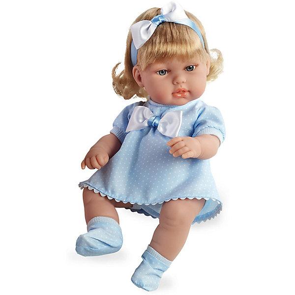 Кукла-блондинка, в голубом платье с бантом, 33см, AriasБренды кукол<br>Характеристики:<br><br>• Вид игр: сюжетно-ролевые<br>• Пол: для девочек<br>• Коллекция: Elegance<br>• Материал: винил, текстиль, нейлон<br>• Длина пупса: 33 см<br>• Комплектация: кукла, платье, пинетки, повязка на волосы<br>• Подвижные ручки и ножки <br>• Вес в упаковке: 1 кг 660 г<br>• Размеры упаковки (Г*Ш*В): 40,5*14*24 см<br>• Упаковка: картонная коробка<br>• Особенности ухода: куклу можно купать, одежда – ручная стирка<br><br>Кукла-блондинка, в голубом платье с бантом, 33см, Arias изготовлена известным испанским торговым предприятием Munecas, который специализируется на выпуске кукол и пупсов. Пупсы и куклы Arias с высокой степенью достоверности повторяют облик маленьких детей, благодаря мельчайшим деталям внешнего вида и одежды игрушки выглядят мило и очаровательно. Кукла выполнена из винила, у нее подвижные ручки и ножки, четко прорисованные глаза и брови, курносый носик и пухленькие губки. Светлые, слегка завитые, волосы придерживает повязка-бант. Малышка одета в легкое голубое платье в горошек и голубые пинетки. Кукла-блондинка, в голубом платье с бантом, 33см, Arias станет идеальным подарком для девочки к любому празднику.<br><br>Куклу-блондинку, в голубом платье с бантом, 33см, Arias можно купить в нашем интернет-магазине.<br>Ширина мм: 405; Глубина мм: 140; Высота мм: 240; Вес г: 983; Возраст от месяцев: 36; Возраст до месяцев: 120; Пол: Женский; Возраст: Детский; SKU: 5355550;