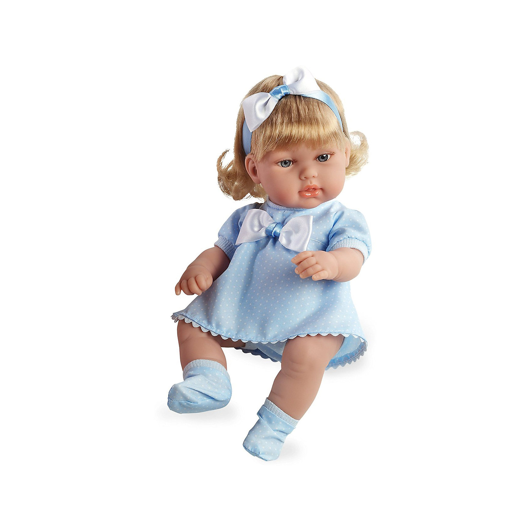 Кукла-блондинка, в голубом платье с бантом, 33см, AriasКлассические куклы<br>Характеристики:<br><br>• Вид игр: сюжетно-ролевые<br>• Пол: для девочек<br>• Коллекция: Elegance<br>• Материал: винил, текстиль, нейлон<br>• Длина пупса: 33 см<br>• Комплектация: кукла, платье, пинетки, повязка на волосы<br>• Подвижные ручки и ножки <br>• Вес в упаковке: 1 кг 660 г<br>• Размеры упаковки (Г*Ш*В): 40,5*14*24 см<br>• Упаковка: картонная коробка<br>• Особенности ухода: куклу можно купать, одежда – ручная стирка<br><br>Кукла-блондинка, в голубом платье с бантом, 33см, Arias изготовлена известным испанским торговым предприятием Munecas, который специализируется на выпуске кукол и пупсов. Пупсы и куклы Arias с высокой степенью достоверности повторяют облик маленьких детей, благодаря мельчайшим деталям внешнего вида и одежды игрушки выглядят мило и очаровательно. Кукла выполнена из винила, у нее подвижные ручки и ножки, четко прорисованные глаза и брови, курносый носик и пухленькие губки. Светлые, слегка завитые, волосы придерживает повязка-бант. Малышка одета в легкое голубое платье в горошек и голубые пинетки. Кукла-блондинка, в голубом платье с бантом, 33см, Arias станет идеальным подарком для девочки к любому празднику.<br><br>Куклу-блондинку, в голубом платье с бантом, 33см, Arias можно купить в нашем интернет-магазине.<br><br>Ширина мм: 405<br>Глубина мм: 140<br>Высота мм: 240<br>Вес г: 983<br>Возраст от месяцев: 36<br>Возраст до месяцев: 120<br>Пол: Женский<br>Возраст: Детский<br>SKU: 5355550