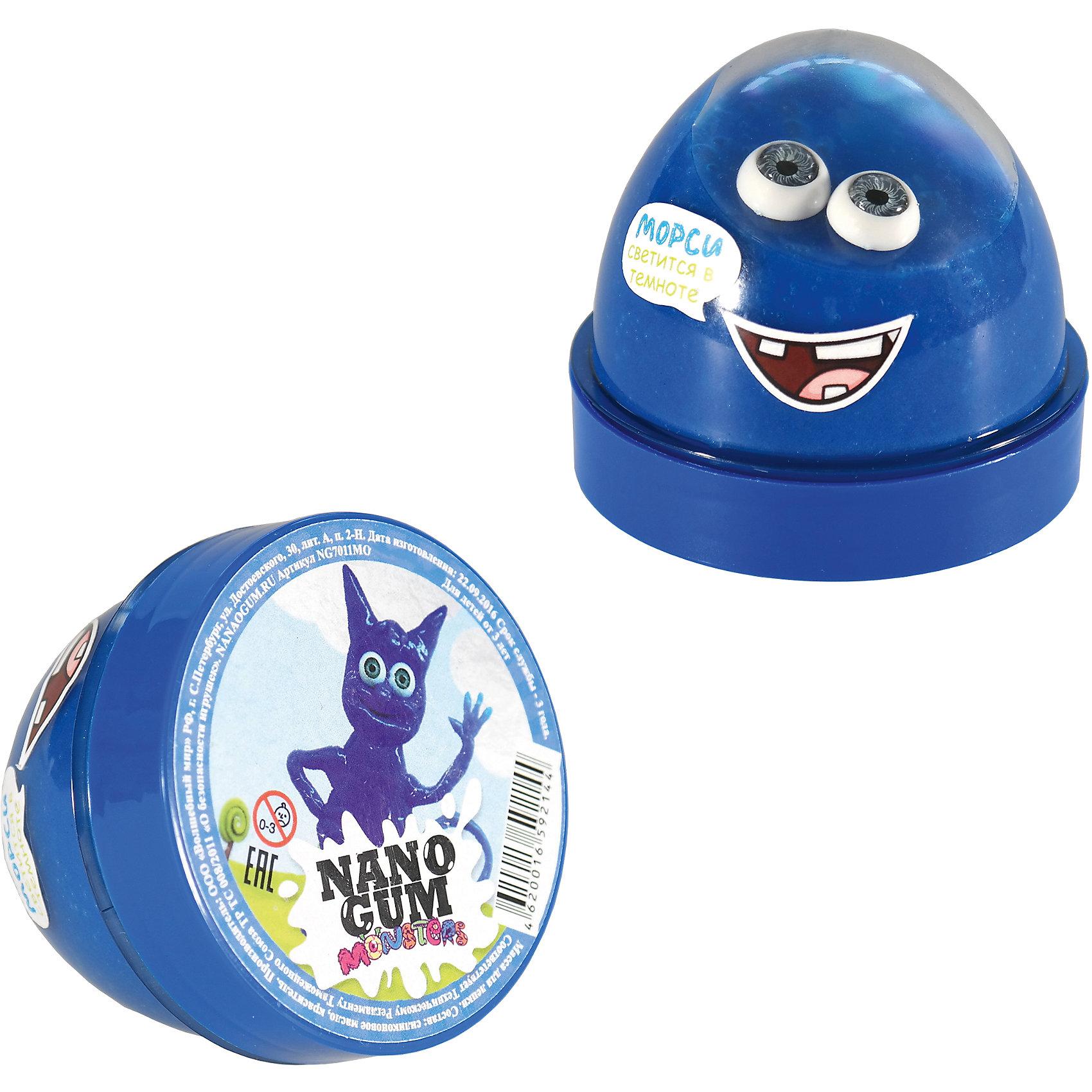Жвачка для рук-антистресс, Морси, светится в темноте, 50гр,  Nano GumАнтистресс игрушки для рук<br>Характеристики:<br><br>• Вид игр: лепка, конструирование<br>• Пол: для девочек/для девочек<br>• Материал: полимер, пластик<br>• Цвет: синий<br>• Комплектация: жвачка, пара искусственных глаз, пластиковая баночка<br>• Светится в темноте<br>• Вес: 50 г<br>• Размеры упаковки (Г*Ш*В): 6*6,5*6,5 см<br>• Упаковка: пластиковая баночка<br><br>Жвачка для рук-антистресс, Морси, светится в темноте, 50гр, Nano Gum от отечественного торгового бренда Волшебный мир – это новый инновационный материал, это новый инновационный материал, предназначенный не только для детей, но и для взрослых. Жвачка для рук изготовлена из безопасного полимера, который легко принимает различные формы, при этом не прилипает к рукам и не рассыпается на кусочки. Жвачка для рук способна расстягиваться, быть упругой, рваться на кусочки, быть тягучей. В комплекте предусмотрена пара глаз, что позволит создавать различных животных или инопланетных существ. Особенность материала заключается в том, что он выполненв ярком цвете, который имеет способность светиться в темноте. Жвачка для рук-антистресс, Морси, светится в темноте, 50гр, Nano Gum позволит развивать воображение и мелкую моторику рук.<br><br>Жвачку для рук-антистресс, Морси, светится в темноте, 50гр, Nano Gum можно купить в нашем интернет-магазине.<br><br>Ширина мм: 60<br>Глубина мм: 60<br>Высота мм: 60<br>Вес г: 1188<br>Возраст от месяцев: 36<br>Возраст до месяцев: 192<br>Пол: Унисекс<br>Возраст: Детский<br>SKU: 5355557