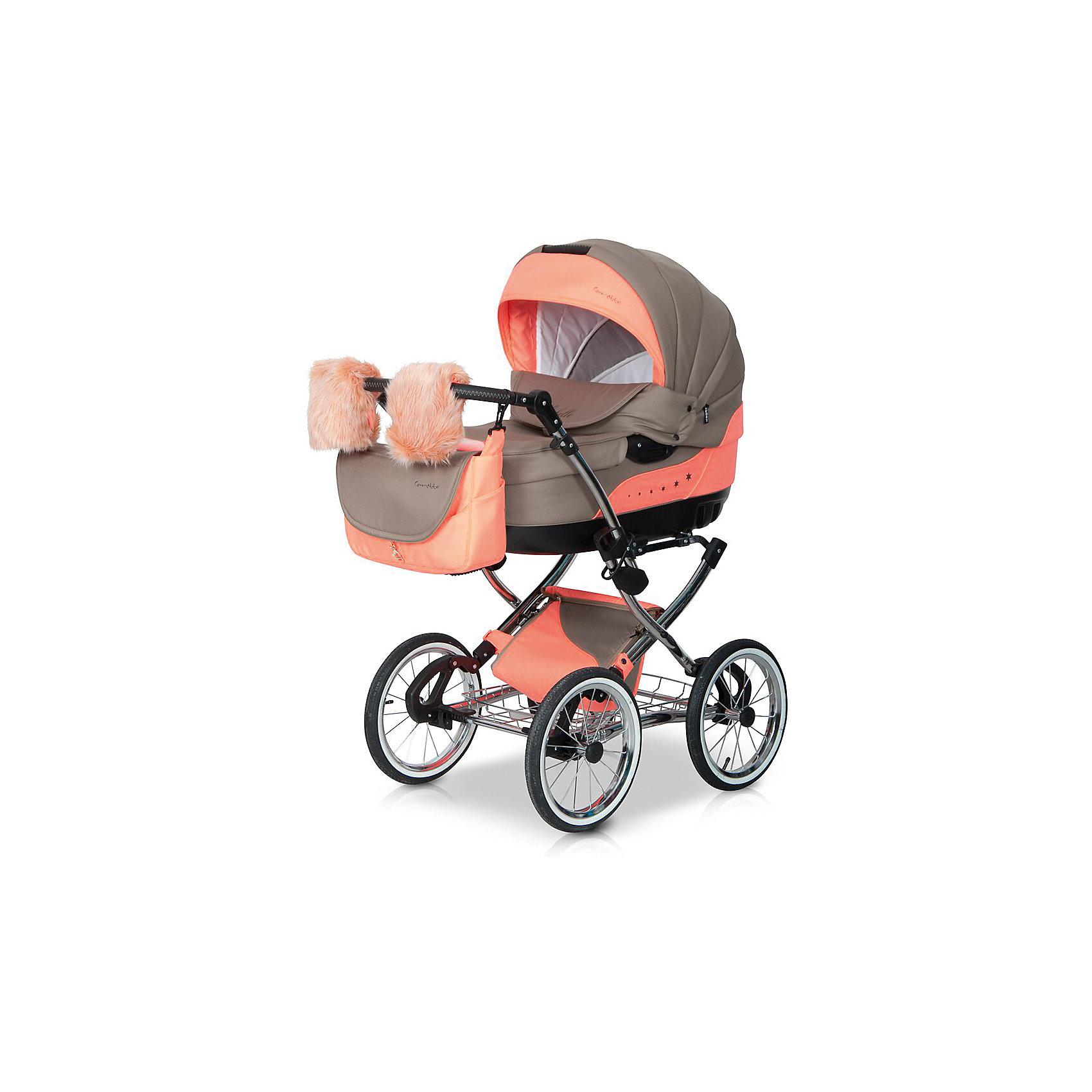 Коляска 2 в 1 Michelle, Caretto, бежевый/оранжевыйХарактеристики коляски:<br><br>• люлька с жестким основанием;<br>• встроенная в капюшоне сеточка для потока свежего воздуха в жаркое время года;<br>• внутренняя система вентиляции;<br>• подголовник в люльке, угол наклона регулируется;<br>• люлька оснащена ручкой для переноски;<br>• спинка регулируется в 3-х положениях вплоть до горизонтального;<br>• подножка регулируется в 2-х положениях;<br>• 5-ти точечные ремни безопасности;<br>• капюшон оснащен солнцезащитным козырьком и дополнительной секцией из клеенки, сзади имеется клапан, под которым находится встроенная москитная сетка;<br>• на капюшоне есть жесткая ручка, чтобы прогулочный блок удобно было переносить.<br><br>Характеристики рамы коляски:<br><br>• высота ручки коляски регулируется по высоте, 6 положений высоты;<br>• наличие пружинных амортизаторов;<br>• тип тормоза: ножной;<br>• особенности колес: надувные;<br>• материал: алюминий, пластик, полиэстер;<br>• материал колес: ПВХ;<br>• тип складывания: книжка.<br><br>Размеры:<br><br>• размер коляски: 110х61 см;<br>• внутренний размер люльки: 84х39х22 см;<br>• вес коляски: 12 кг;<br>• диаметр колес: 31 см;<br>• вес в упаковке: 22 кг.<br><br>Коляска 2 в 1 Caretto Michelle используется как коляска-люлька и как прогулочная коляска. Коляска выдерживает нагрузку до 9 кг - люлька и до 15 кг - прогулочный блок. Глубокий капюшон с козырьком и высокий отворот накидки обеспечивают максимальную защиту от ветра. Рама складывается книжкой, не занимает много места. Ручка коляски регулируется по высоте. Коляска укомплектована дополнительными аксессуарами для комфортной и приятной прогулки с малышом. <br><br>Дополнительная комплектация:<br><br>• люлька с жестким основанием;<br>• матрасик в люльку;<br>• мягкий бортик на синтепоне в люльку;<br>• клеенка;<br>• прогулочный блок с бампером;<br>• шасси с колесами;<br>• накидка на ножки, крепится с помощью кнопок;<br>• дождевик;<br>• муфта для рук - искусственный мех;<br>• москитная сет