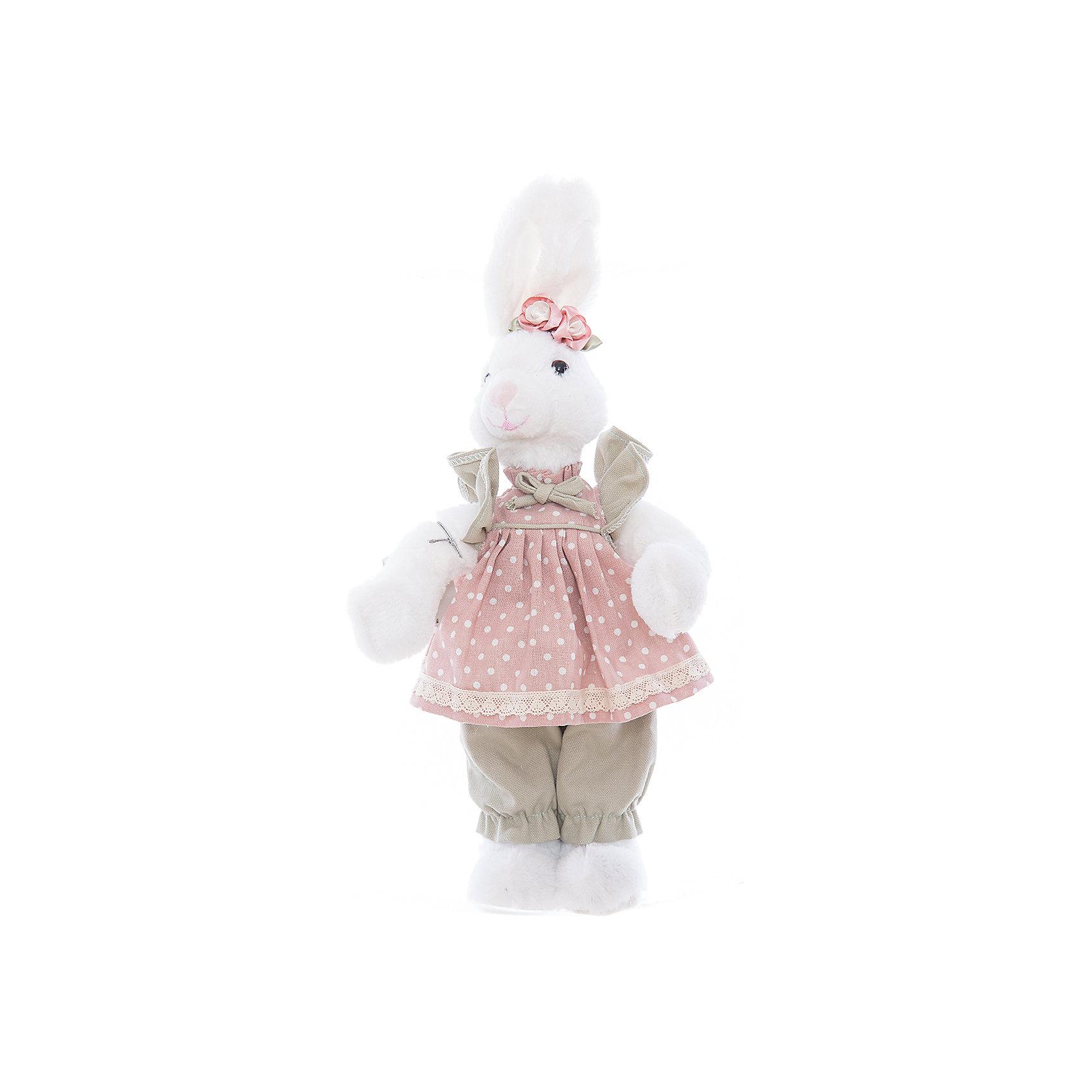 Интерьерная кукла Зайчик C21-168329, EstroХарактеристики интерьерной куклы:<br><br>- размеры: 40 см<br>- тип игрушки: животные, мягкая игрушка<br>- персонаж: заяц<br>- стиль: классический, Прованс<br>- материал изготовления: высококачественный пластик, полиэстер, ткань<br>- состав: дерево, полиэстер, текстиль, полиэфир<br>- вид упаковки: коробка<br>- возрастные ограничения: 3+<br>- сезон: круглогодичный<br>- страна бренда: Италия<br>- страна производитель: Китай<br>- комплектация: игрушка<br><br>Интерьерная кукла в виде белоснежной зайчихи в розовом сарафанчике придаст очарование Вашему интерьеру. Внешний вид куклы проработан до мелочей. Все детали аккуратно подогнаны и прекрасно подходят друг к другу. Данная вещь станет замечательной находкой, как для себя, так и презентом для друга. Кукла итальянской торговой марки Estro является отличным выбором для любого интерьера. Модель изготовлена из качественных материалов красивой палитры, окрашена в белый, светло-зеленый, бледно-розовый цвет. <br><br>Интерьерную куклу итальянской торговой марки Estro можно купить в нашем интернет-магазине.<br><br>Ширина мм: 150<br>Глубина мм: 150<br>Высота мм: 400<br>Вес г: 310<br>Возраст от месяцев: 36<br>Возраст до месяцев: 1188<br>Пол: Женский<br>Возраст: Детский<br>SKU: 5356607