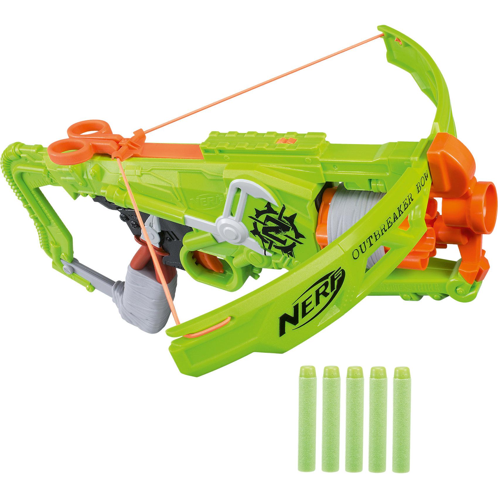 Бластер-арбалет Nerf Hasbro Зомби Страйк АутбрейкерИгрушечное оружие<br>Характеристики:<br><br>• возраст: от 8 лет;<br>• материал: пластик;<br>• в комплекте: бластер, 5 стрел;<br>• размер упаковки: 30,5х41,9х6,7 см;<br>• вес упаковки: 1,09 кг;<br>• страна производитель: Китай.<br><br>Бластер «Зомби Страйк Аутбрейкер» Nerf Hasbro позволит устроить захватывающие сражения или соревнования по стрельбе. Бластер напоминает собой арбалет с тетивой. В барабан заряжаются сразу все 5 патронов. У всех стрел мягкий наконечник, что исключает травмы во время игры.<br><br>Бластер «Зомби Страйк Аутбрейкер» Nerf Hasbro можно приобрести в нашем интернет-магазине.<br><br>Ширина мм: 424<br>Глубина мм: 307<br>Высота мм: 71<br>Вес г: 762<br>Возраст от месяцев: 96<br>Возраст до месяцев: 2147483647<br>Пол: Мужской<br>Возраст: Детский<br>SKU: 5358590