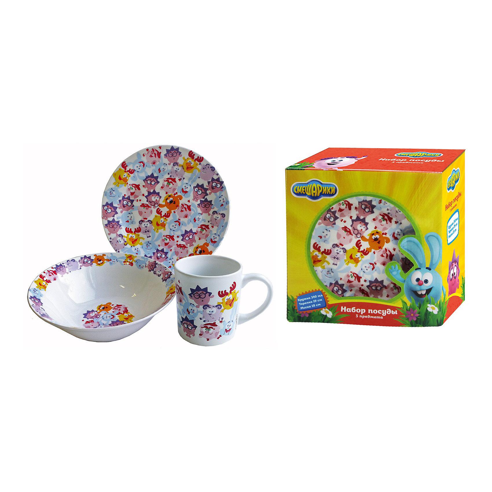 Набор керамической посуды Бум! (3 предмета), СмешарикиСмешарики<br>Набор керамической посуды Бум! (3 предмета), Смешарики<br><br>Характеристики:<br><br>• подходит для микроволновой печи<br>• подходит для посудомоечной машины<br>• красочный дизайн с персонажами мультфильма<br>• материал: керамика<br>• в комплекте: миска, тарелка, кружка<br>• объем кружки: 240 мл<br>• диаметр миски: 18 см<br>• диаметр тарелки: 19 см<br>• размер упаковки: 19,5х11х19,5 см<br>• вес: 1000 грамм<br><br>Когда в гости приходят Смешарики, обед становится еще интереснее! Набор Бум состоит из миски, тарелки и кружки, оформленных изображением всеми любимых персонажей. Все изделия выполнены из керамики. Рисунок хорошо держится, не стираясь. Объем кружки составляет 240 мл. Диаметр миски - 18 см; диаметр тарелки- 19 см. Посуда походит для использования в микроволновой печи и посудомоечной машине.<br><br>Набор керамической посуды Бум! (3 предмета), Смешарики можно купить в нашем интернет-магазине.<br><br>Ширина мм: 195<br>Глубина мм: 110<br>Высота мм: 195<br>Вес г: 1000<br>Возраст от месяцев: 36<br>Возраст до месяцев: 108<br>Пол: Унисекс<br>Возраст: Детский<br>SKU: 5358593
