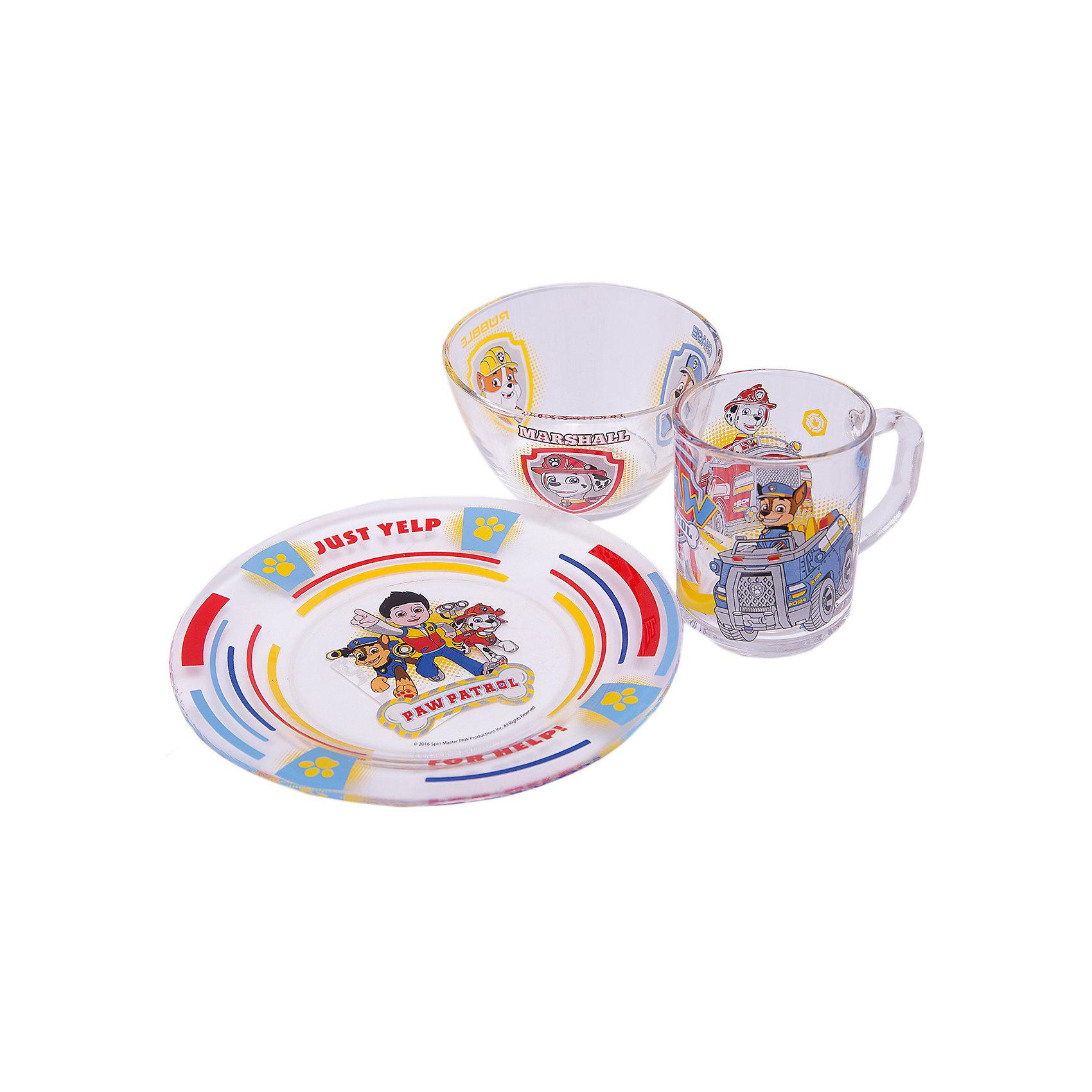 Набор посуды Щенячий патруль (3 предмета, стекло)Посуда<br>Набор посуды Щенячий патруль (3 предмета, стекло)<br><br>Характеристики:<br><br>• подходит для микроволновой печи<br>• подходит для посудомоечной машины<br>• красочный дизайн с персонажами мультфильма<br>• материал: стекло<br>• в комплекте: миска, тарелка, кружка<br>• объем кружки: 250 мл<br>• диаметр салатника: 13 см<br>• диаметр тарелки: 19,5 см<br>• размер упаковки: 20х10,8х20,2 см<br>• вес: 960 грамм<br><br>С набором Щенячий патруль ваш малыш всегда будет с радостью бежать за стол! Посуда изготовлена из стекла и декорирована изображением главных героев мультфильма. Райдер, Крепыш, Гонщик и Маршал сделают обед ещё вкуснее. Вся посуда подходит для посудомоечной машины и микроволновой печи. Объем кружки - 250 мл. Диаметр салатника -13 см. Диаметр тарелки - 19,5 сантиметров.<br><br>Набор посуды Щенячий патруль (3 предмета, стекло) вы можете купить в нашем интернет-магазине.<br><br>Ширина мм: 202<br>Глубина мм: 108<br>Высота мм: 200<br>Вес г: 960<br>Возраст от месяцев: 36<br>Возраст до месяцев: 108<br>Пол: Мужской<br>Возраст: Детский<br>SKU: 5358602