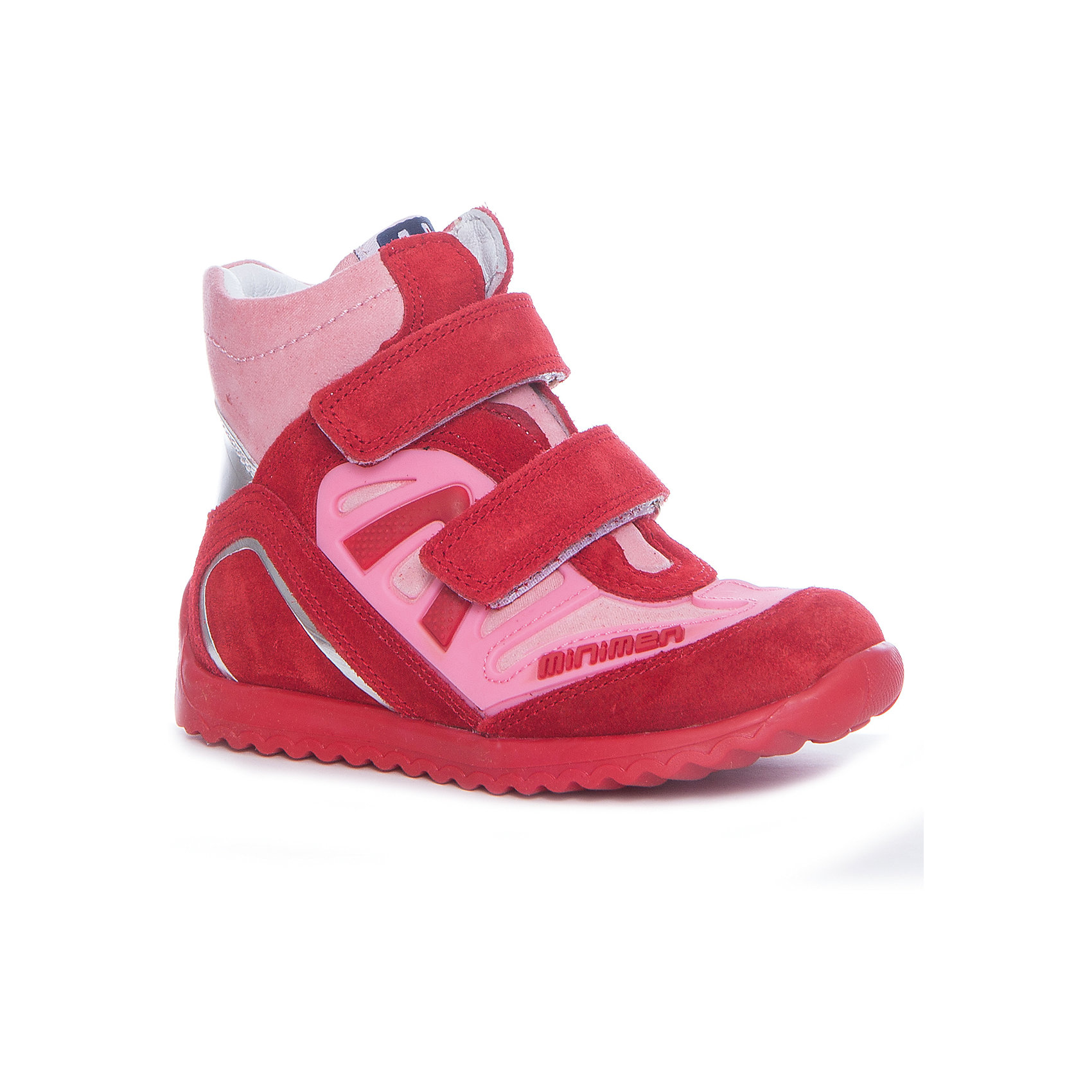 Ботинки для девочки MINIMENБотинки<br>Характеристики товара:<br><br>• цвет: розовый/красный<br>• внешний материал: натуральная замша, натуральная кожа<br>• внутренний материал: текстиль<br>• стелька: натуральная кожа<br>• подошва: полиуретан<br>• температурный режим: от 0°С до +10°С<br>• наличие супинатора<br>• высокий жёсткий задник<br>• профилактическая анатомическая модель<br>• застёжка: два ремешка с липучками<br>• усиленный защищённый мыс и пятка<br>• страна бренда: Турция<br>• страна производства: Турция<br><br>Модные демисезонные ботинки сделаны из качественного текстиля и натуральной кожи, которые помогают ногам находиться в комфортных условиях: впитывают лишнюю влагу и правильно распределяют нагрузку. Полуботинки легко надеваются, очень симпатично выглядят. Это действительно удобная и качественная обувь. Правильно подобранная детская обувь - залог здорового развития не только стопы, но и всего организма!<br><br>Ботинки от известного бренда Minimen (Минимен) можно купить в нашем интернет-магазине.<br><br>Ширина мм: 262<br>Глубина мм: 176<br>Высота мм: 97<br>Вес г: 427<br>Цвет: разноцветный<br>Возраст от месяцев: 24<br>Возраст до месяцев: 24<br>Пол: Женский<br>Возраст: Детский<br>Размер: 25,30,29,28,27,26<br>SKU: 5360573