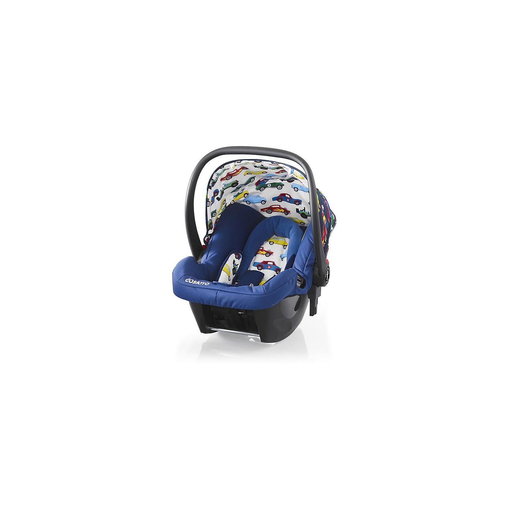 Автокресло Cosatto 0-13 кг, Hold, Rev UpГруппа 0+ (До 13 кг)<br>Характеристики автокресла Hold Cosatto:<br><br>• группа 0+;<br>• вес ребенка: до 13 кг;<br>• возраст ребенка: от рождения до 12 месяцев;<br>• способ установки: против хода движения автомобиля;<br>• способ крепления: штатными ремнями безопасности автомобиля;<br>• есть возможность установить автокресло на базу с системой крепления Isofix - база приобретается отдельно;<br>• 5-ти точечные ремни безопасности с мягкими накладками;<br>• регулируемый защитный капор;<br>• анатомический вкладыш для новорожденного;<br>• в комплекте с автокреслом идет дождевик;<br>• пластиковая ручка, автолюлька используется как переноска, положение ручки меняется;<br>• автокресло можно использовать как кресло-качалку;<br>• чтобы зафиксировать кресло, необходимо изменить положение ручки и создать упор в пол;<br>• съемные чехлы, стирка при температуре 30 градусов;<br>• материал: пластик, полиэстер;<br>• стандарт безопасности: ЕСЕ R44/03.<br><br>Размер автокресла, ДхШхВ: 70х44х60 см<br>Вес автокресла: 4,2 кг<br><br>Автокресло Hold Cosatto устанавливается как против хода движения автомобиля на заднем сиденье. Глубокая чаша просторная, малышу удобно находится в кресле даже в теплом комбинезоне. Анатомический вкладыш с подголовником снимается. Автокресло соответствует европейским стандартам безопасности. Авктокресло можно установить на раму коляски Cosatto. Адаптеры для установки автокресла на шасси коляски входят в комплект.<br><br>Автокресло 0-13 кг., HOLD, COSATTO, Rev Up можно купить в нашем интернет-магазине.<br><br>Ширина мм: 740<br>Глубина мм: 440<br>Высота мм: 380<br>Вес г: 6000<br>Возраст от месяцев: 0<br>Возраст до месяцев: 12<br>Пол: Мужской<br>Возраст: Детский<br>SKU: 5362944
