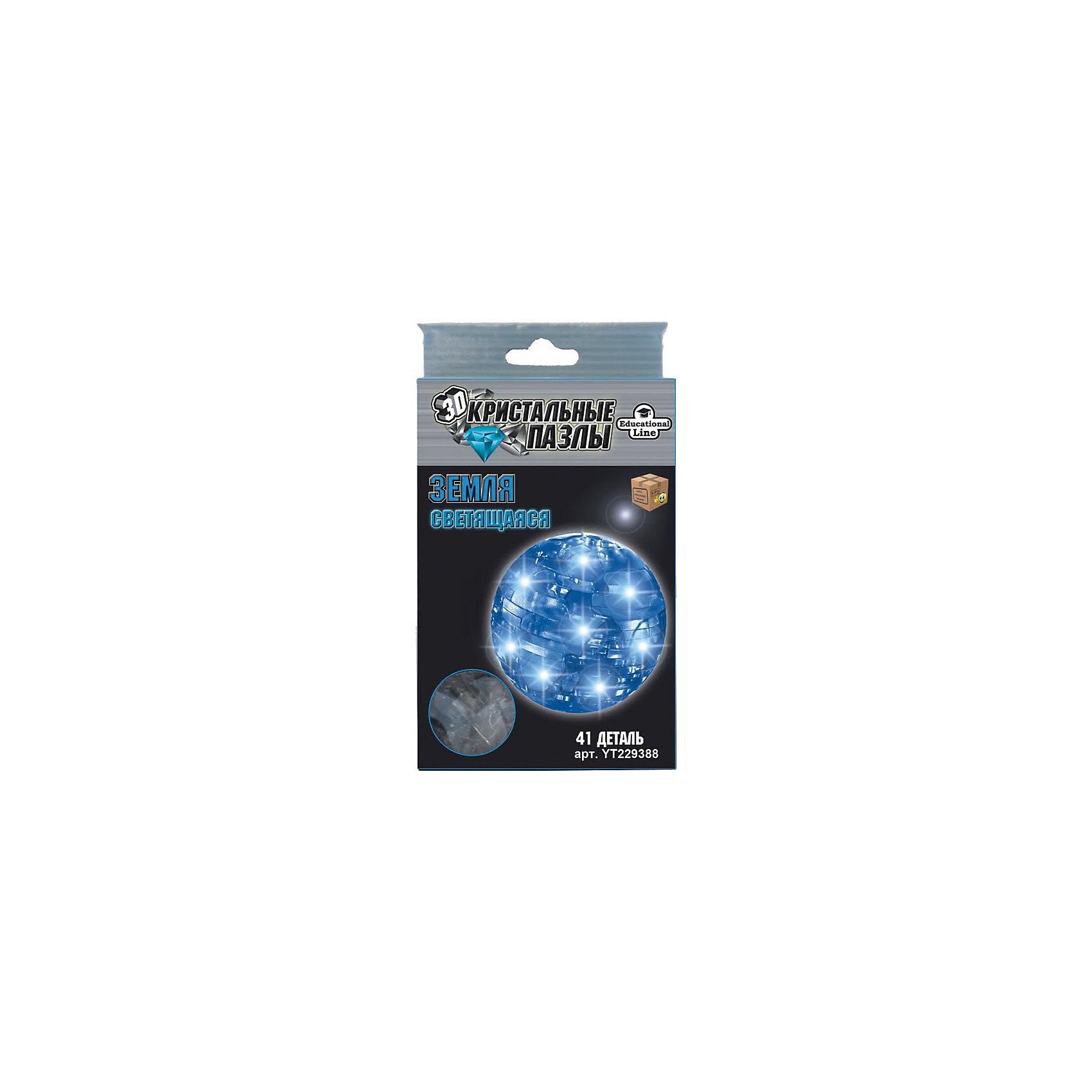 Кристаллический пазл-cветильник 3D Земля L3D пазлы<br>Характеристики товара:<br><br>• возраст: от 8 лет;<br>• материал: пластик;<br>• в комплекте: 41 элемент, инструкция;<br>• тип батареек: батарейки L736;<br>• наличие батареек: демонстрационные в комплекте;<br>• размер упаковки: 16х10х4 см;<br>• вес упаковки: 200 гр.;<br>• страна производитель: Китай.<br><br>Кристаллический 3D пазл-светильник «Земля» Educational Line позволит собрать объемную фигурку из пластиковых деталей пазла. Все детали прочно соединяются между собой и крепко держатся. Готовая модель оснащена светящимся элементом и может использоваться в качестве оригинального светильника в детской комнате. В процессе сборки пазла развиваются мелкая моторика рук, усидчивость, внимательность, логическое мышление. <br><br>Кристаллический 3D пазл-светильник «Земля» Educational Line можно приобрести в нашем интернет-магазине.<br><br>Ширина мм: 17<br>Глубина мм: 9<br>Высота мм: 4<br>Вес г: 133<br>Возраст от месяцев: 96<br>Возраст до месяцев: 2147483647<br>Пол: Унисекс<br>Возраст: Детский<br>Количество деталей: 41<br>SKU: 5362953