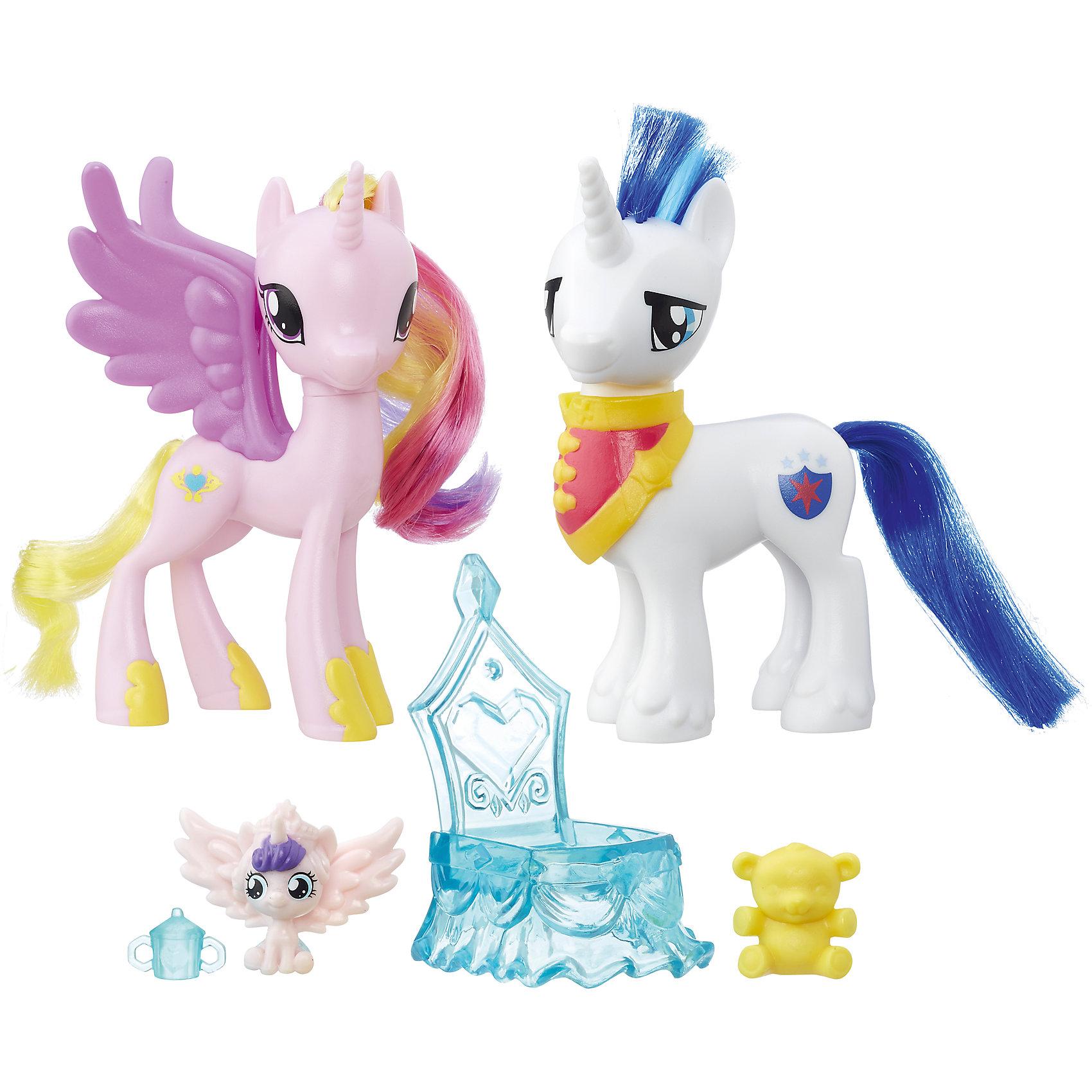 Пони-модницы парочки, My little Pony, Принцесса Каденс и Шайнинг Армор B9160/B9848Игрушки<br>Характеристики:<br><br>• Вид игр: сюжетно-ролевые, коллекционирование<br>• Пол: для девочек<br>• Коллекция: My little Pony<br>• Материал: пластик<br>• Высота фигурки: 7,5 см<br>• Комплектация: три фигурки пони, колыбелька, бутылочка для кормления и игрушка для малыша<br>• Вес в упаковке: 290 г<br>• Размеры упаковки (Г*Ш*В): 27*7,5*24 см<br>• Упаковка: блистер на картонной подложке<br><br>Пони-модницы парочки: Принцесса Каденс и Шайнинг Армор, My little Pony, B9160/B9848 – это новая коллекция бренда My little Pony от Хасбро. В коллекции представлены фигурки семейные пары с малышом-пони и аксессуарами для ухода за ним. В комплекте предусмотрена колыбелька для малыша-пони, бутылочка для кормления и любимая игрушка – медвежонок. Теперь можно разыгрывать любимые сюжеты игры дочки-матери вместе с замечательными пони! Фигурки и аксессуары выполнены из экологически безопасного и прочного пластика, который устойчив к физическим и механическим повреждениям, окрашены нетоксичными яркими красками, которые не изменяют свой цвет даже при длительной эксплуатации. Игры с такими фигурками будут способствовать развитию фантазии и воображения. Пони-модницы парочки: Принцесса Каденс и Шайнинг Армор, My little Pony, B9160/B9848 – это замечательный подарок для девочки к любому празднику!<br><br>Пони-модниц парочки: Принцесса Каденс и Шайнинг Армор, My little Pony, B9160/B9848 можно купить в нашем интернет-магазине.<br><br>Ширина мм: 67<br>Глубина мм: 254<br>Высота мм: 235<br>Вес г: 363<br>Цвет: розовый/белый<br>Возраст от месяцев: 36<br>Возраст до месяцев: 120<br>Пол: Женский<br>Возраст: Детский<br>SKU: 5363519