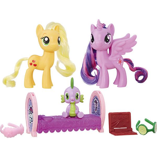 Пони-модницы парочки, My little Pony, Принцесса Твайлайт Спаркл и Эпплджек B9160/B9850Игрушки<br>Характеристики:<br><br>• Вид игр: сюжетно-ролевые, коллекционирование<br>• Пол: для девочек<br>• Коллекция: My little Pony<br>• Материал: пластик<br>• Высота фигурки: 7,5 см<br>• Комплектация: две фигурки пони, фигурка малыша-дракончика, повязка на глаза, проектор для сказок <br>• Вес в упаковке: 290 г<br>• Размеры упаковки (Г*Ш*В): 27*7,5*24 см<br>• Упаковка: блистер на картонной подложке<br><br>Пони-модницы парочки: Принцесса Твайлайт Спаркл и Эпплджек, My little Pony, B9160/B9850 – это новая коллекция бренда My little Pony от Хасбро. В коллекции представлены фигурки семейные пары с малышом-пони и аксессуарами для ухода за ним. В комплекте предусмотрена кроватка для малыша-дракончика и аксессуары, которые позволят его быстро уложить спать. Теперь можно разыгрывать любимые сюжеты игры дочки-матери вместе с замечательными пони! Фигурки и аксессуары выполнены из экологически безопасного и прочного пластика, который устойчив к физическим и механическим повреждениям, окрашены нетоксичными яркими красками, которые не изменяют свой цвет даже при длительной эксплуатации. Игры с такими фигурками будут способствовать развитию фантазии и воображения. Пони-модницы парочки: Принцесса Твайлайт Спаркл и Эпплджек, My little Pony, B9160/B9850 – это замечательный подарок для девочки к любому празднику!<br><br>Пони-модниц парочки: Принцесса Твайлайт Спаркл и Эпплджек, My little Pony, B9160/B9850 можно купить в нашем интернет-магазине.<br><br>Ширина мм: 67<br>Глубина мм: 254<br>Высота мм: 235<br>Вес г: 363<br>Цвет: желтый/лиловый<br>Возраст от месяцев: 36<br>Возраст до месяцев: 120<br>Пол: Женский<br>Возраст: Детский<br>SKU: 5363521