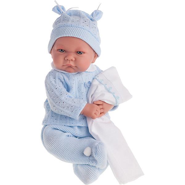 Кукла Ника в голубом, озвученная, 40 см, Munecas Antonio JuanБренды кукол<br>Характеристики товара:<br><br>• возраст: от 3 лет;<br>• материал: винил, текстиль;<br>• в комплекте: кукла, костюм, шапочка;<br>• высота куклы: 40 см;<br>• размер упаковки: 47х26х16 см;<br>• вес упаковки: 1,45 кг;<br>• страна производитель: Испания.<br><br>Кукла Ника в голубом Munecas Antonio Juan — очаровательный малыш с пухлыми щечками и выразительными глазками. Кукла одета в вязаный голубой костюмчик и шапочку. У куклы подвижные ручки и ножки. При нажатии на кнопку на животике куколка смеется и произносит «папа» и «мама».<br><br>Игра с куклой привьет девочке чувство заботы, помощи, ответственности и любви. Кукла выполнена из качественных безопасных материалов.<br><br>Куклу Нику в голубом Munecas Antonio Juan можно приобрести в нашем интернет-магазине.<br>Ширина мм: 550; Глубина мм: 265; Высота мм: 160; Вес г: 1650; Возраст от месяцев: 36; Возраст до месяцев: 2147483647; Пол: Женский; Возраст: Детский; SKU: 5364641;
