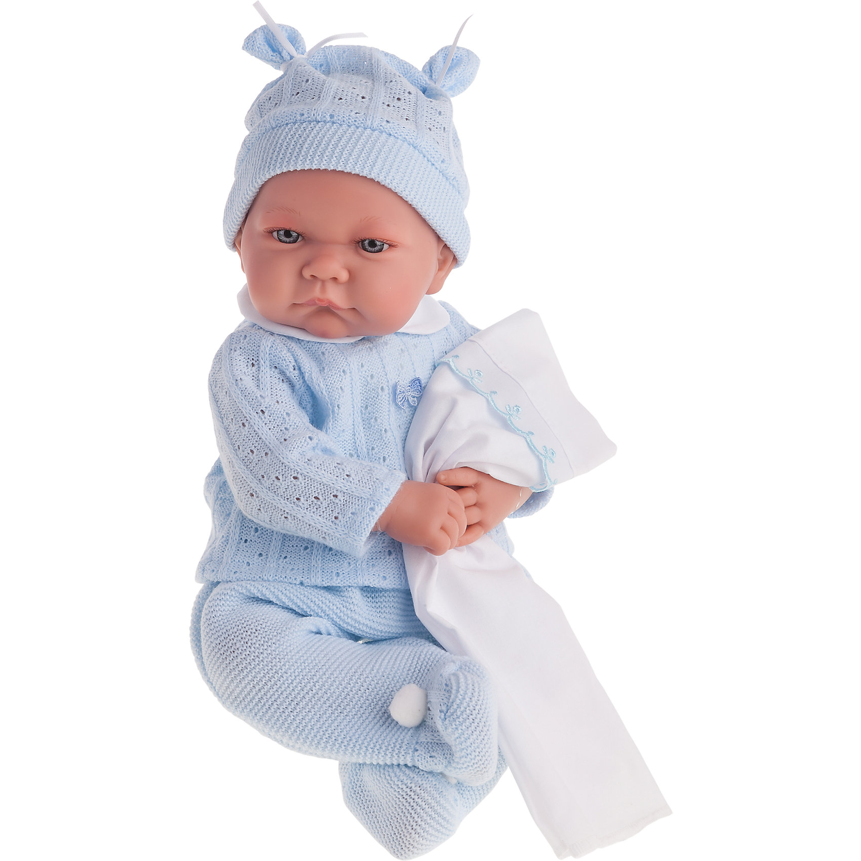 Кукла Ника в голубом, озвученная, 40 см, Munecas Antonio JuanКлассические куклы<br>Характеристики товара:<br><br>• возраст: от 3 лет;<br>• материал: винил, текстиль;<br>• в комплекте: кукла, костюм, шапочка;<br>• высота куклы: 40 см;<br>• размер упаковки: 47х26х16 см;<br>• вес упаковки: 1,45 кг;<br>• страна производитель: Испания.<br><br>Кукла Ника в голубом Munecas Antonio Juan — очаровательный малыш с пухлыми щечками и выразительными глазками. Кукла одета в вязаный голубой костюмчик и шапочку. У куклы подвижные ручки и ножки. При нажатии на кнопку на животике куколка смеется и произносит «папа» и «мама».<br><br>Игра с куклой привьет девочке чувство заботы, помощи, ответственности и любви. Кукла выполнена из качественных безопасных материалов.<br><br>Куклу Нику в голубом Munecas Antonio Juan можно приобрести в нашем интернет-магазине.<br><br>Ширина мм: 550<br>Глубина мм: 265<br>Высота мм: 160<br>Вес г: 1650<br>Возраст от месяцев: 36<br>Возраст до месяцев: 2147483647<br>Пол: Женский<br>Возраст: Детский<br>SKU: 5364641