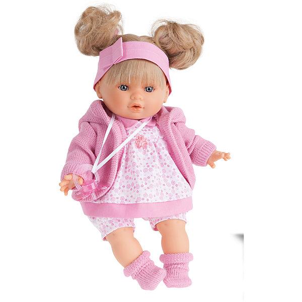 Кукла Кристи в розовом, плачущая, 30 см, Munecas Antonio JuanКуклы<br>Характеристики товара:<br><br>• возраст: от 3 лет;<br>• материал: винил, текстиль;<br>• в комплекте: кукла, платье, соска;<br>• высота куклы: 30 см;<br>• размер упаковки: 34х21х12 см;<br>• вес упаковки: 725 гр.;<br>• страна производитель: Испания.<br><br>Кукла Кристи в розовом Munecas Antonio Juan — очаровательная девочка с выразительными глазками, пухлыми щечками и мягкими волосами, завязанными в хвостики. Кукла одета в розовое платье и теплый кардиган.<br><br>У куклы подвижные ручки и ножки. Кристи умеет плакать. Если куколка заплачет, надо дать ей соску и успокоить ее. Игра с куклой привьет девочке чувство заботы, помощи, ответственности и любви. Кукла выполнена из качественных безопасных материалов.<br><br>Куклу Кристи в розовом Munecas Antonio Juan можно приобрести в нашем интернет-магазине.<br><br>Ширина мм: 350<br>Глубина мм: 200<br>Высота мм: 125<br>Вес г: 787<br>Возраст от месяцев: 36<br>Возраст до месяцев: 2147483647<br>Пол: Женский<br>Возраст: Детский<br>SKU: 5364643