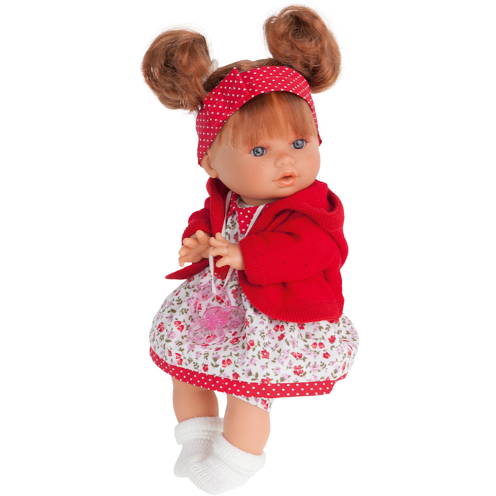Кукла Кристи в красном, плачущая, 30 см, Munecas Antonio JuanКлассические куклы<br>Характеристики товара:<br><br>• возраст: от 3 лет;<br>• материал: винил, текстиль;<br>• в комплекте: кукла, платье, соска;<br>• высота куклы: 30 см;<br>• размер упаковки: 34х21х12 см;<br>• вес упаковки: 725 гр.;<br>• страна производитель: Испания.<br><br>Кукла Кристи в красном Munecas Antonio Juan — очаровательная девочка с выразительными глазками, пухлыми щечками и мягкими волосами, завязанными в хвостики. Кукла одета в платье и теплый красный кардиган.<br><br>У куклы подвижные ручки и ножки. Кристи умеет плакать. Если куколка заплачет, надо дать ей соску и успокоить ее. Игра с куклой привьет девочке чувство заботы, помощи, ответственности и любви. Кукла выполнена из качественных безопасных материалов.<br><br>Куклу Кристи в красном Munecas Antonio Juan можно приобрести в нашем интернет-магазине.<br><br>Ширина мм: 350<br>Глубина мм: 200<br>Высота мм: 125<br>Вес г: 787<br>Возраст от месяцев: 36<br>Возраст до месяцев: 2147483647<br>Пол: Женский<br>Возраст: Детский<br>SKU: 5364644