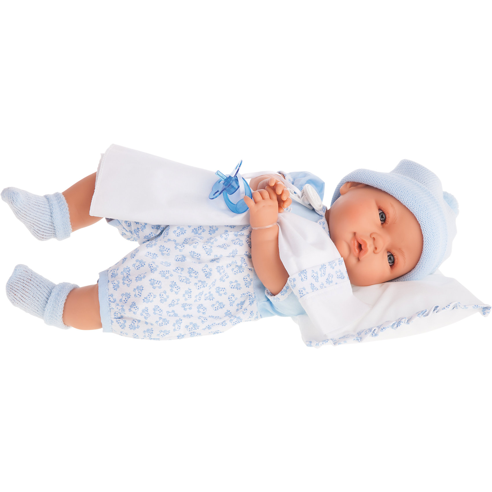 Кукла Габи в голубом, плачущая, 36 см, Munecas Antonio JuanКуклы-пупсы<br>Характеристики товара:<br><br>• возраст: от 3 лет;<br>• материал: винил, текстиль;<br>• в комплекте: кукла, комбинезон, шапочка, носки, соска;<br>• высота куклы: 36 см;<br>• размер упаковки: 24х44х12 см;<br>• вес упаковки: 1,11 кг;<br>• страна производитель: Испания.<br><br>Кукла Габи в голубом Munecas Antonio Juan — очаровательный малыш с выразительными глазками и пухлыми щечками. Кукла одета в голубой комбинезон и шапочку.<br><br>У куклы подвижные ручки и ножки. Габи умеет плакать. Если куколка заплачет, надо дать ей соску и успокоить ее. Игра с куклой привьет девочке чувство заботы, помощи, ответственности и любви. Кукла выполнена из качественных безопасных материалов.<br><br>Куклу Габи в голубом Munecas Antonio Juan можно приобрести в нашем интернет-магазине.<br><br>Ширина мм: 440<br>Глубина мм: 245<br>Высота мм: 120<br>Вес г: 1033<br>Возраст от месяцев: 36<br>Возраст до месяцев: 2147483647<br>Пол: Женский<br>Возраст: Детский<br>SKU: 5364645