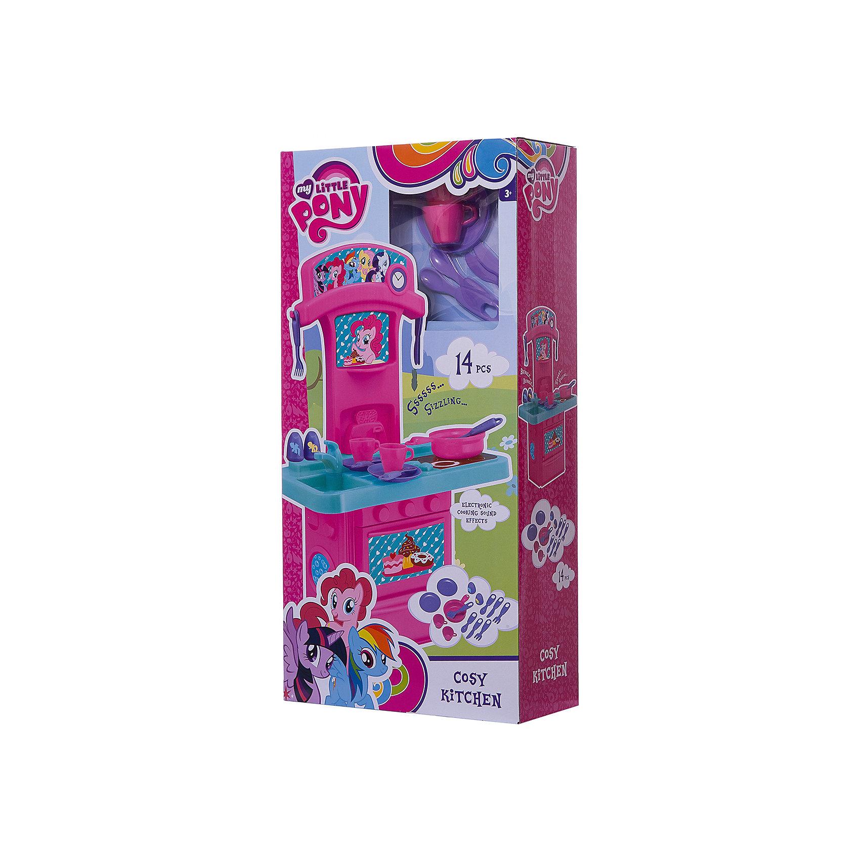 Мини-кухня My Little Pony, HTIДетские кухни<br>Мини-кухня My Little Pony (Май литл Пони), HTI.<br><br>Характеристика: <br><br>• Материал: пластик. <br>• Размер: 47x12х28 см. <br>• Высота игрушки: 60 см. <br>• Комплектация: кухня с мойкой и плитой, 2 чашки, кастрюля, вилка, ложка, солонка, перечница и другие аксессуары (всего 14 шт). <br>• Дверцы шкафа открываются. <br>• Яркий привлекательный дизайн. <br>• Звуковые и световые эффекты. <br>• Элемент питания: 2 ААА батарейки (не входят в комплект). <br>• Оформлена изображениями героинь My Little Pony (Моя маленькая Пони). <br><br>Яркая кухня, выполненная в стилистике My Little Pony и украшенная изображениями любимых героинь, приведет в восторг любую девочку! В наборе есть все, чтобы осчастливить и заинтересовать вашу юную хозяйку. Мойка, плита, открывающиеся дверцы, посуда и аксессуары сделают игры еще увлекательнее и интереснее! Все детали набора выполнены из высококачественного пластика, в производстве которого использованы только нетоксичные качественные красители. <br><br>Мини-кухню My Little Pony (Май литл Пони), HTI, можно купить в нашем интернет-магазине.<br><br>Ширина мм: 575<br>Глубина мм: 286<br>Высота мм: 122<br>Вес г: 1200<br>Возраст от месяцев: 36<br>Возраст до месяцев: 168<br>Пол: Женский<br>Возраст: Детский<br>SKU: 5366512