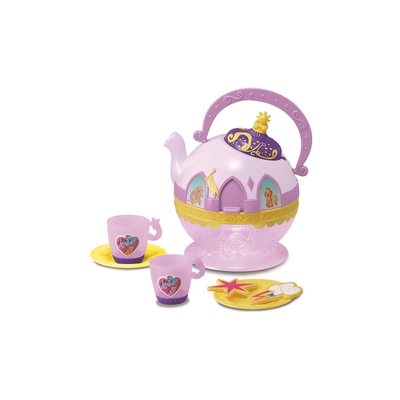 Набор посудки My Little Pony, HTIПосуда и аксессуары для детской кухни<br>Набор посудки My Little Pony (Май литл Пони), HTI.<br><br>Характеристика: <br><br>• Материал: пластик. <br>• Размер: 30x23x30 см. <br>• Комплектация: чайник, 2 чашки, 2 блюдца, аксессуары (2 шт). <br>• Звуковые эффекты.<br>• Элемент питания: 3 ААА батарейки (в комплекте). <br>• Яркий привлекательный дизайн. <br>• Чайник оформлен изображениями My Little Pony. <br><br>Красивая посудка - то что нужно любой маленькой хозяйке! Оригинальный чайный сервиз, оформленный изображениями My Little Pony (Моя маленькая Пони) таит в себе секрет: подними пластиковые шторки на окошках и слушай веселую мелодию. Все детали набора выполнены из высококачественного гипоаллергенного пластика безопасного для детей. <br><br>Набор посудки My Little Pony (Май литл Пони), HTI, можно купить в нашем интернет-магазине.<br><br>Ширина мм: 278<br>Глубина мм: 301<br>Высота мм: 170<br>Вес г: 600<br>Возраст от месяцев: 36<br>Возраст до месяцев: 168<br>Пол: Женский<br>Возраст: Детский<br>SKU: 5366514