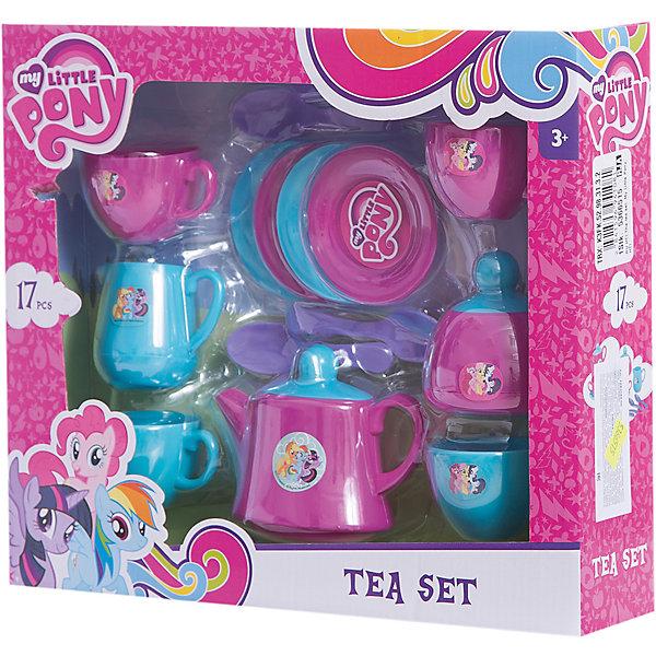 Чайный набор  My Little Pony, HTIДетские кухни<br>Чайный набор My Little Pony (Май литл Пони), HTI. <br><br>Характеристика: <br><br>• Материал: пластик. <br>• Размер: 7х26,5х30,5 см. <br>• Комплектация: 17 предметов - 4 блюдца, 4 ложки, чайник с крышкой, 4 чашки, молочник, сахарница.<br>• Яркий привлекательный дизайн. <br>• Чайник оформлен изображениями My Little Pony. <br><br>Красивая посудка - то что нужно любой маленькой хозяйке! Оригинальный чайный сервиз, оформленный изображениями My Little Pony (Моя маленькая Пони) понравится любой девочке. Все детали набора выполнены из высококачественного гипоаллергенного пластика безопасного для детей. <br><br>Чайный набор My Little Pony (Май литл Пони), HTI, можно купить в нашем интернет-магазине.<br>Ширина мм: 265; Глубина мм: 307; Высота мм: 70; Вес г: 370; Возраст от месяцев: 36; Возраст до месяцев: 168; Пол: Женский; Возраст: Детский; SKU: 5366515;