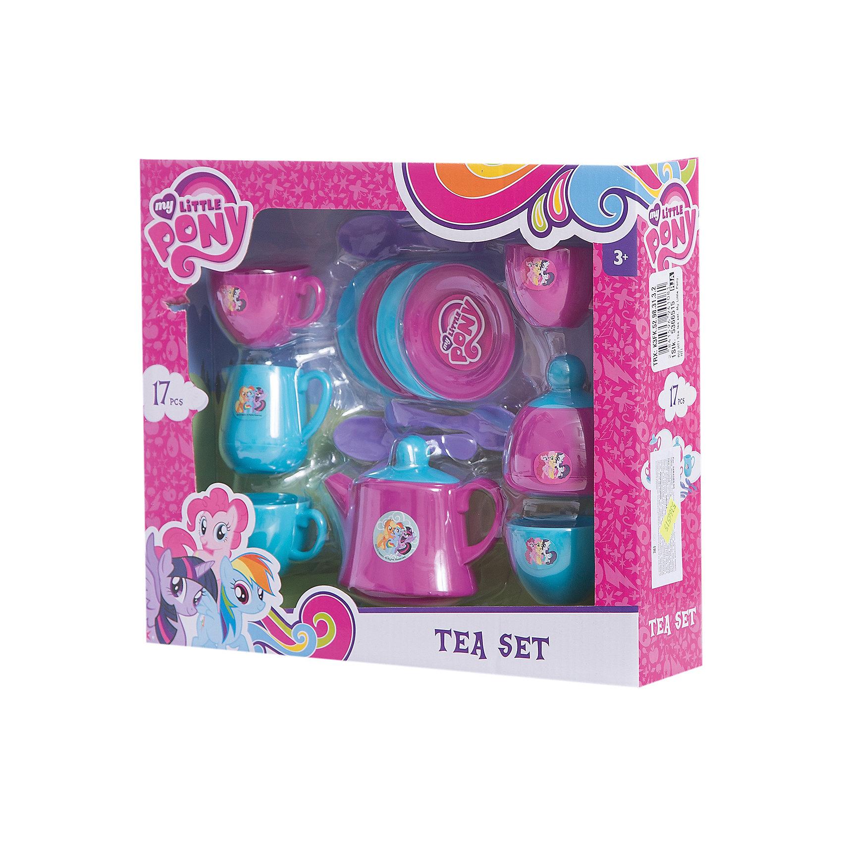 Чайный набор  My Little Pony, HTIПопулярные игрушки<br>Чайный набор My Little Pony (Май литл Пони), HTI. <br><br>Характеристика: <br><br>• Материал: пластик. <br>• Размер: 7х26,5х30,5 см. <br>• Комплектация: 17 предметов - 4 блюдца, 4 ложки, чайник с крышкой, 4 чашки, молочник, сахарница.<br>• Яркий привлекательный дизайн. <br>• Чайник оформлен изображениями My Little Pony. <br><br>Красивая посудка - то что нужно любой маленькой хозяйке! Оригинальный чайный сервиз, оформленный изображениями My Little Pony (Моя маленькая Пони) понравится любой девочке. Все детали набора выполнены из высококачественного гипоаллергенного пластика безопасного для детей. <br><br>Чайный набор My Little Pony (Май литл Пони), HTI, можно купить в нашем интернет-магазине.<br><br>Ширина мм: 265<br>Глубина мм: 307<br>Высота мм: 70<br>Вес г: 370<br>Возраст от месяцев: 36<br>Возраст до месяцев: 168<br>Пол: Женский<br>Возраст: Детский<br>SKU: 5366515