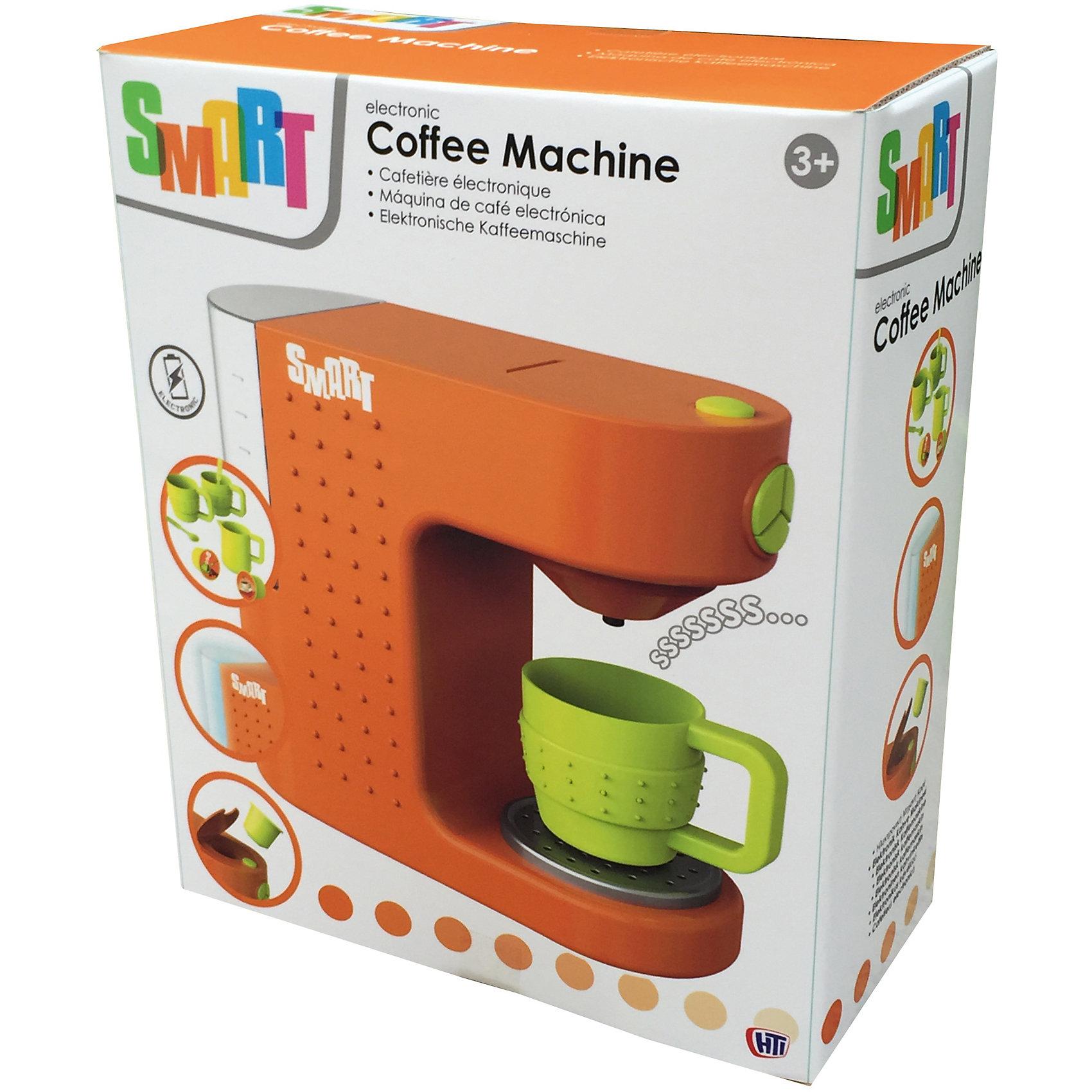 Капсульная кофемашина Smart, HTIИгрушечная бытовая техника<br>Капсульная кофемашина Smart, HT.<br><br>Характеристика: <br><br>• Материал: пластик. <br>• Размер: 20х10х25 см. <br>• Комплектация: кофемашина, 2 чашечки, молочник и 2 ложечки.<br>• Яркий привлекательный дизайн. <br>• Элемент питания: 3 ААА батарейки (не входят в комплект). <br>• Световые и звуковые эффекты. <br><br>Яркая капсульная кофемашина приведет в восторг вашу маленькую хозяйку! Машина работает по принципу настоящей, взрослой кофемашины: нужно поместить капсулу в специальное отверстие и нажать кнопу. Послышится звук льющейся воды и стаканчик замигает голубым светом. Игрушка выполнена из высококачественных гипоаллергенных материалов, в производстве которых использованы только нетоксичные безопасные красители. <br><br>Капсульную кофемашину Smart, HT, можно купить в нашем интернет-магазине.<br><br>Ширина мм: 255<br>Глубина мм: 205<br>Высота мм: 98<br>Вес г: 590<br>Возраст от месяцев: 36<br>Возраст до месяцев: 168<br>Пол: Женский<br>Возраст: Детский<br>SKU: 5366516