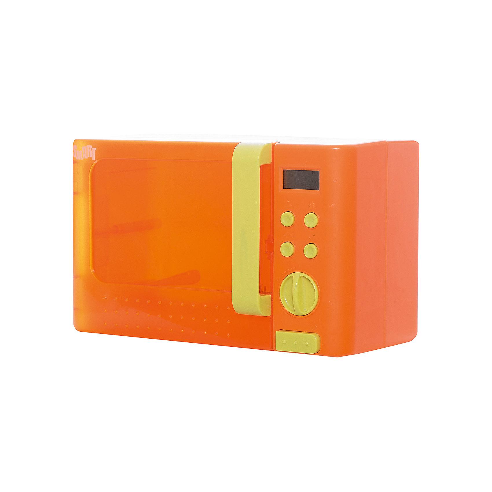 Микроволновая печь Smart, HTIИгрушечная бытовая техника<br>Микроволновая печь Smart, HTI.<br><br>Характеристика: <br><br>• Материал: пластик. <br>• Размер: 27х16.5х17 см. <br>• Комплектация: микроволновая печь, кусок пиццы. <br>• Яркий привлекательный дизайн. <br>• Элемент питания: 3 АА батарейки (не входят в комплект). <br>• Световые и звуковые эффекты. <br><br>Микроволновая печь Smart выглядит как настоящая! Покрутив специальное колесико можно выбрать разные режимы времени, которое отражается на LCD экране. Дверца открывается нажатием большой кнопки, после запуска микроволновки внутри зажигается свет и начинает вращаться тарелка, слышны звуки работающего прибора. Прекрасный вариант для вашей юной хозяйки! Игрушка выполнена из высококачественного экологичного пластика безопасного для детей.<br><br>Микроволновую печь Smart, HTI, можно купить в нашем интернет-магазине.<br><br>Ширина мм: 184<br>Глубина мм: 278<br>Высота мм: 169<br>Вес г: 840<br>Возраст от месяцев: 36<br>Возраст до месяцев: 168<br>Пол: Женский<br>Возраст: Детский<br>SKU: 5366519