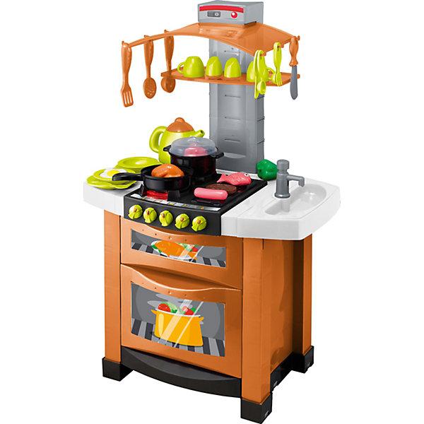 Модная электронная кухня Smart, HTIДетские кухни<br>Модная электронная кухня Smart, HTI.<br><br>Характеристика: <br><br>• Материал: пластик. <br>• Размер: 47x12х41 см.<br>• Комплектация: кухня с мойкой и плитой, кастрюлька, сковородка, чайничек, столовые приборы, посудка, продукты.<br>• Дверцы шкафа открываются. <br>• В мойку можно налить воду.<br>• Оригинальный дизайн. <br>• Звуковые и световые эффекты. <br>• Элемент питания: 3 ААА батарейки (не входят в комплект). <br><br>Эта модная и многофункциональная электронная кухня приведет в восторг любую девочку! В наборе есть все, чтобы осчастливить и заинтересовать вашу юную хозяйку. Мойка с настоящей водой, плита с открывающейся дверцей, посуда, различные звуковые и световые эффекты и аксессуары сделают игры еще увлекательнее и интереснее! Все детали набора выполнены из высококачественного пластика, в производстве которого использованы только нетоксичные качественные красители. <br><br>Модная электронная кухня Smart, HTI, можно купить в нашем интернет-магазине.<br><br>Ширина мм: 420<br>Глубина мм: 560<br>Высота мм: 270<br>Вес г: 4100<br>Возраст от месяцев: 36<br>Возраст до месяцев: 168<br>Пол: Женский<br>Возраст: Детский<br>SKU: 5366522