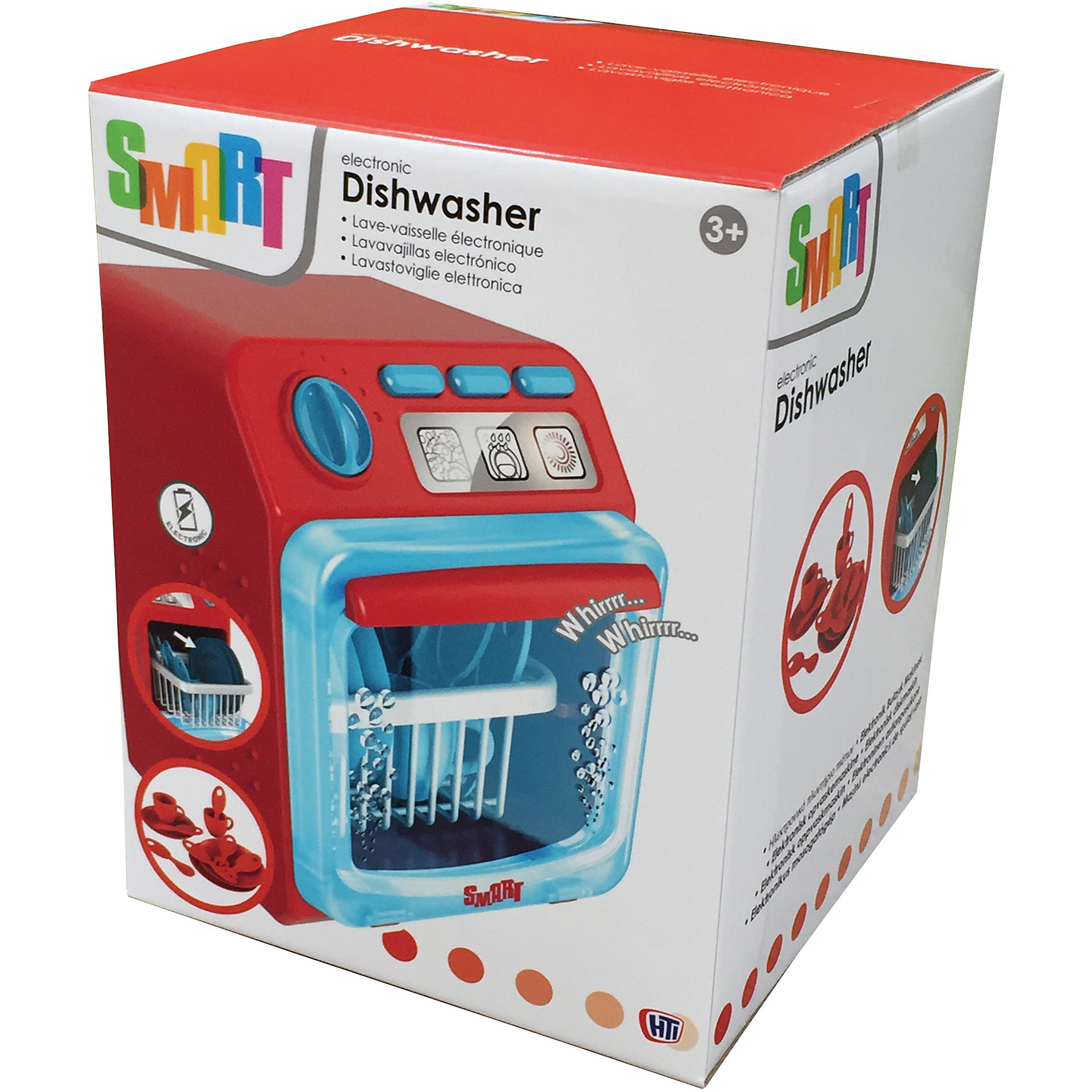 Посудомоечная машина Smart, HTIПосудомоечная машина Smart. Кнопки для выбора программ мытья посуды, слива воды и сушки, - все со световыми и звуковыми эффуктами. Поворотом ручки выполняется полный цикл. Открывающаяся дверца, посуда и чашечки.Работает от 3-х батареек типа ААА (В комплект не входят).<br><br>Ширина мм: 253<br>Глубина мм: 200<br>Высота мм: 198<br>Вес г: 998<br>Возраст от месяцев: 36<br>Возраст до месяцев: 168<br>Пол: Женский<br>Возраст: Детский<br>SKU: 5366524