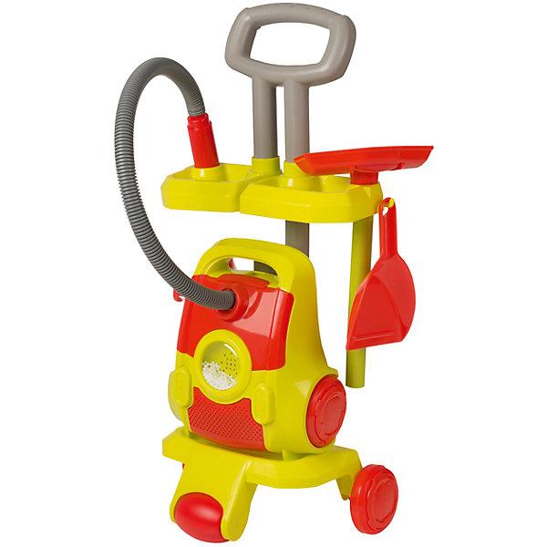 Тележка с пылесосом и аксессуарами, HTIИгрушечная бытовая техника<br>Тележка с пылесосом и аксессуарами, HTI.<br><br>Характеристика: <br><br>• Материал: пластик. <br>• Размер упаковки: 50х33х13 см. <br>• Высота игрушки в собранном виде: 56 см.<br>• Размер игрушки в собранном виде: 28х18,5х56 см.<br>• Комплектация: пылесос, подставка на колесах, совок, щетка. <br>• Во время работы в прозрачном цилиндре прыгают мелкие разноцветные шарики.<br>• Яркий привлекательный дизайн. <br>• Элемент питания: 2 АА батарейки (не входят в комплект). <br>• Световые и звуковые эффекты. <br><br>Яркий и многофункциональный набор для уборки поможет юной хозяйке всегда поддерживать чистоту в кукольном доме и своей комнате. В комплект входит пылесос с реалистичными звуками и разноцветными шариками, совок и щетка. Тележка на колесах адаптирована под детский рост, оснащена специальными отверстиями и крючками, позволяющими закрепить на ней различные предметы для уборки. Все игрушки выполнены из высококачественного прочного пластика безопасного для детей. Игры с набором подарят девочке множество положительных эмоций и помогу привить любовь к чистоте и порядку. <br><br>Тележку с пылесосом и аксессуарами, HTI, можно купить в нашем интернет-магазине.<br>Ширина мм: 505; Глубина мм: 320; Высота мм: 120; Вес г: 1000; Возраст от месяцев: 36; Возраст до месяцев: 168; Пол: Женский; Возраст: Детский; SKU: 5366529;