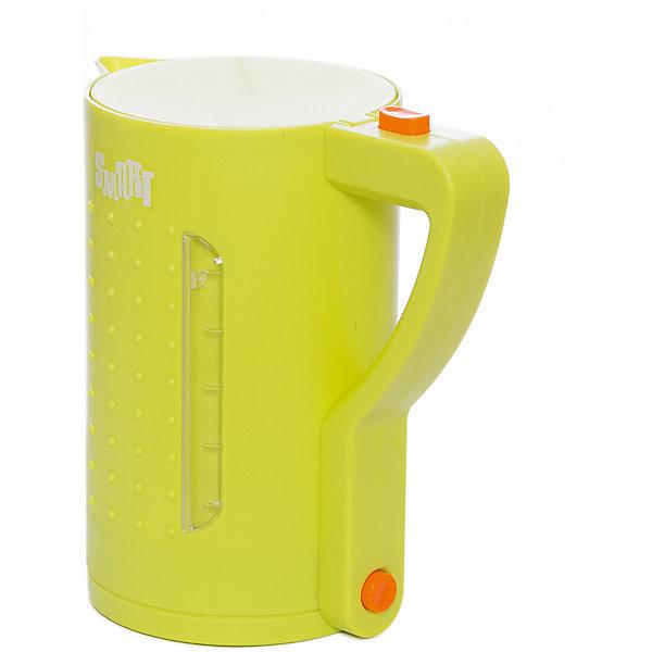 Чайник Smart, HTIИгрушечная бытовая техника<br>Чайник Smart, HTI.<br><br>Характеристика: <br><br>• Материал: пластик. <br>• Размер чайника: 15,5х18,5х11 см.<br>• Яркий привлекательный дизайн. <br>• Элемент питания: 2 АА батарейки (не входят в комплект). <br>• Световые и звуковые эффекты. <br>• Вода в игрушке не нагревается.<br><br>Яркий чайник Smart займет достойное место на любой игрушечной кухне! Все детали игрушки прекрасно проработаны и выглядят очень реалистично. При включении чайника загорается подсветка и раздается звук закипающей воды. Звуковые и световые эффекты сделают игры девочки еще интереснее и увлекательнее. Чайник изготовлен из высококачественного прочного пластика безопасного для детей.<br><br>Чайник Smart, HTI, можно купить в нашем интернет-магазине.<br>Ширина мм: 185; Глубина мм: 155; Высота мм: 105; Вес г: 268; Возраст от месяцев: 36; Возраст до месяцев: 168; Пол: Женский; Возраст: Детский; SKU: 5366532;