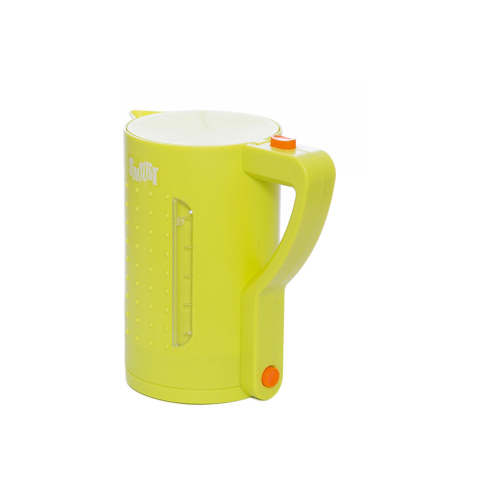 Чайник Smart, HTIИгрушечная бытовая техника<br>Чайник Smart, HTI.<br><br>Характеристика: <br><br>• Материал: пластик. <br>• Размер чайника: 15,5х18,5х11 см.<br>• Яркий привлекательный дизайн. <br>• Элемент питания: 2 АА батарейки (не входят в комплект). <br>• Световые и звуковые эффекты. <br>• Вода в игрушке не нагревается.<br><br>Яркий чайник Smart займет достойное место на любой игрушечной кухне! Все детали игрушки прекрасно проработаны и выглядят очень реалистично. При включении чайника загорается подсветка и раздается звук закипающей воды. Звуковые и световые эффекты сделают игры девочки еще интереснее и увлекательнее. Чайник изготовлен из высококачественного прочного пластика безопасного для детей.<br><br>Чайник Smart, HTI, можно купить в нашем интернет-магазине.<br><br>Ширина мм: 185<br>Глубина мм: 155<br>Высота мм: 105<br>Вес г: 268<br>Возраст от месяцев: 36<br>Возраст до месяцев: 168<br>Пол: Женский<br>Возраст: Детский<br>SKU: 5366532