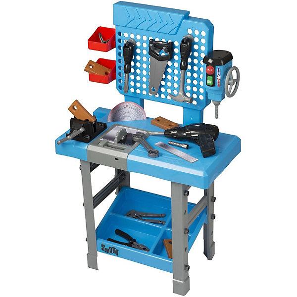 Большой верстак с инструментами Smart, HTIНаборы инструментов<br>Большой верстак с инструментами Smart, HT.<br><br>Характеристика: <br><br>• Материал: пластик. <br>• Размер упаковки: 80x8х48 см. <br>• Высота верстака: 80 см.<br>• Комплектация: верстак, аксессуары 73 шт. (ножовка, отвертка со сменными насадками, молоток, дрель, гаечный ключ, линейка и транспортир, плоскогубцы, кусачки, деревянные детали ). <br>• Вращающиеся тиски.<br>• Циркулярная пила, которая вращается и издает звуки, имитирующие работу.<br>• Крючки для инструментов.<br>• Полочки для деталей.<br>• Дрель, которая работает с помощью кнопки.<br>• Реалистичная детализация. <br>• Устойчивое основание. <br>• Элемент питания: 2 АА батарейки (в комплект не входят).<br><br>Большой верстак Halsall Smart - то, что нужно вашему юному строителю! В наборе есть все необходимые инструменты, чтобы почувствовать себя настоящим опытным мастером. Циркулярная пила, дрель и тиски вращаются и издают звуки. Фрезерный станок очень похож на настоящий: при вращении ручки, сверло крутится. В комплекте 73 инструмента для реалистичных и увлекательных игр. Все детали набора отлично проработаны, выполнены из высококачественного прочного пластика безопасного для детей.<br><br>Большой верстак с инструментами Smart, HT, можно купить в нашем интернет-магазине.<br><br>Ширина мм: 399<br>Глубина мм: 574<br>Высота мм: 129<br>Вес г: 2100<br>Возраст от месяцев: 36<br>Возраст до месяцев: 168<br>Пол: Мужской<br>Возраст: Детский<br>SKU: 5366546