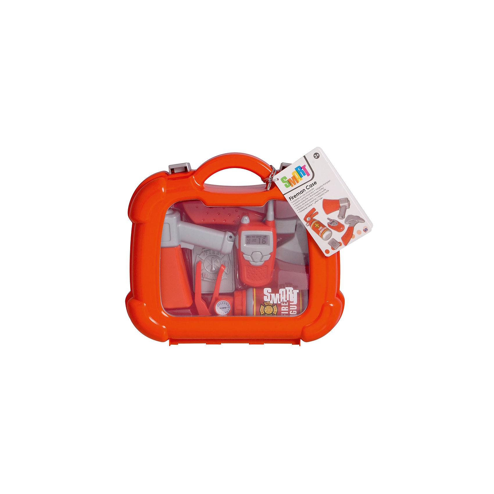 Набор пожарного в кейсе, HTIМастерская и инструменты<br>Набор пожарного в кейсе, HTI.<br><br>Характеристика: <br><br>• Материал: пластик. <br>• Размер упаковки: 28x24,4x8,5 см. <br>• Комплектация: фонарик, топорик, рупор, огнетушитель, жетон и рация. <br>• Удобные застежки. <br>• Ручка для переноски. <br>• Реалистичная детализация. <br><br>В этом наборе есть все, чтобы почувствовать себя настоящим пожарным! Все аксессуары прекрасно детализированы, изготовлены из высококачественного прочного пластика. Отличный вариант для увлекательных сюжетно-ролевых игр. <br><br>Набор пожарного в кейсе, HTI, можно купить в нашем интернет-магазине.<br><br>Ширина мм: 235<br>Глубина мм: 250<br>Высота мм: 80<br>Вес г: 500<br>Возраст от месяцев: 36<br>Возраст до месяцев: 168<br>Пол: Мужской<br>Возраст: Детский<br>SKU: 5366549