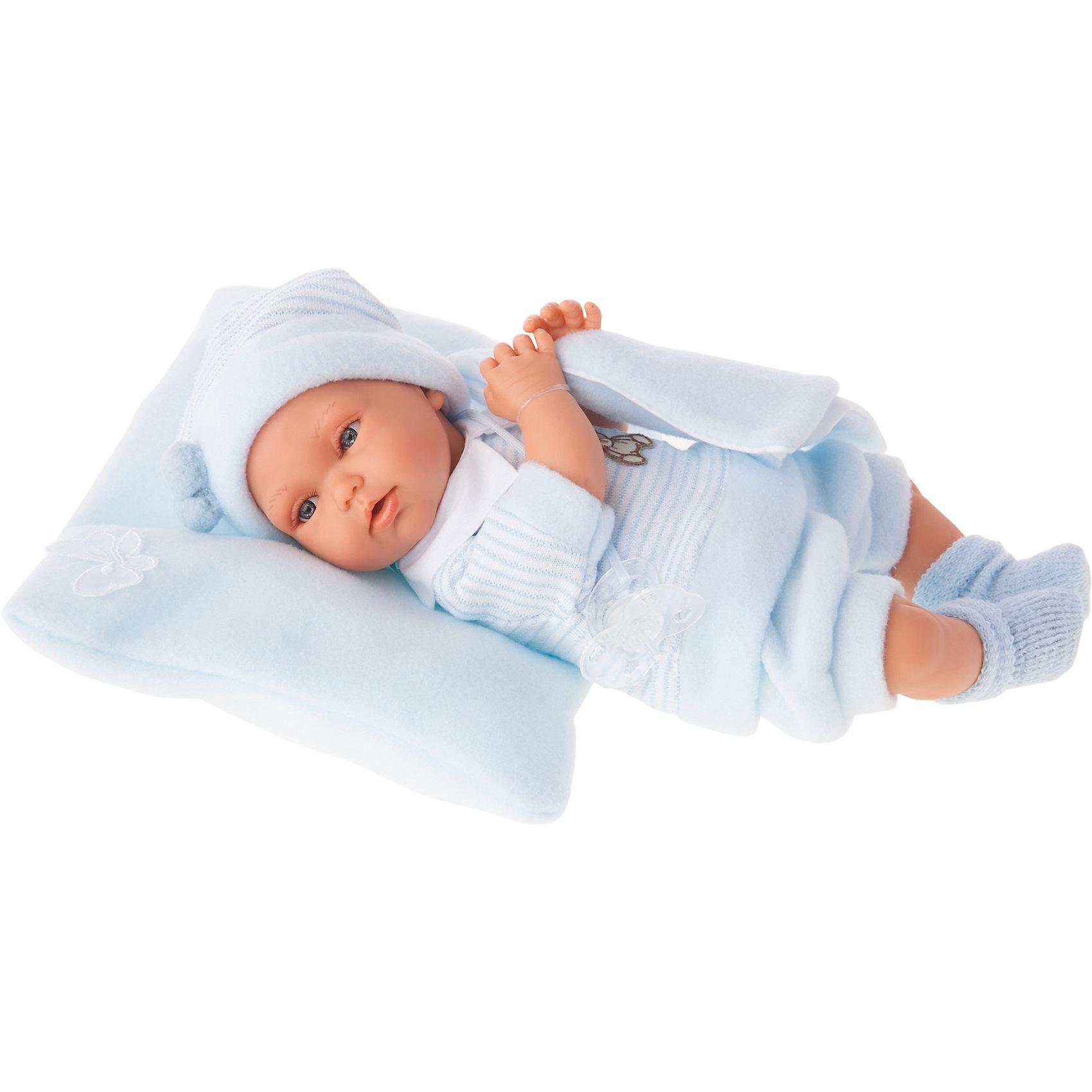 Кукла Марти в голубом, озвученная, 29 см, Munecas Antonio JuanКлассические куклы<br>Характеристики товара:<br><br>• возраст: от 3 лет;<br>• материал: винил, текстиль;<br>• в комплекте: кукла, костюм, шапочка;<br>• высота куклы: 29 см;<br>• размер упаковки: 34х20х13 см;<br>• вес упаковки: 705 гр.;<br>• страна производитель: Испания.<br><br>Кукла Марти в голубом Munecas Antonio Juan — очаровательный малыш с пухлыми щечками и выразительными глазками. Кукла одета в вязаный голубой костюмчик и шапочку. У куклы подвижные ручки и ножки. При нажатии на кнопку на животике куколка смеется и произносит «папа» и «мама».<br><br>Игра с куклой привьет девочке чувство заботы, помощи, ответственности и любви. Кукла выполнена из качественных безопасных материалов.<br><br>Куклу Марти в голубом Munecas Antonio Juan можно приобрести в нашем интернет-магазине.<br><br>Ширина мм: 350<br>Глубина мм: 200<br>Высота мм: 125<br>Вес г: 780<br>Возраст от месяцев: 36<br>Возраст до месяцев: 2147483647<br>Пол: Женский<br>Возраст: Детский<br>SKU: 5367050