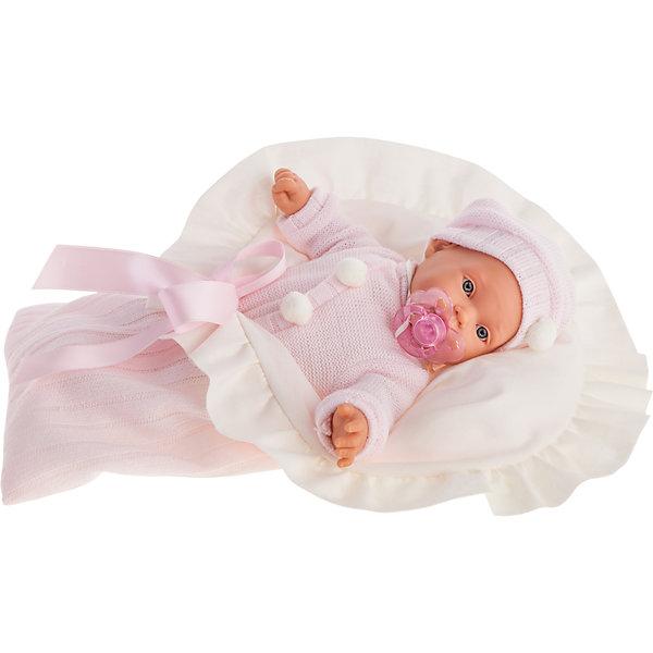 Кукла Ланита в розовом, плачущая, 27 см, Munecas Antonio JuanКуклы<br>Характеристики товара:<br><br>• возраст: от 3 лет;<br>• материал: винил, текстиль;<br>• в комплекте: кукла, костюм, шапочка, соска, одеяло;<br>• тип батареек: 3 батарейки АА;<br>• наличие батареек: демонстрационные в комплекте;<br>• высота куклы: 27 см;<br>• размер упаковки: 38х24х10 см;<br>• вес упаковки: 655 гр.;<br>• страна производитель: Испания.<br><br>Кукла Ланита в розовом Munecas Antonio Juan — очаровательная девочка с выразительными глазками, длинными ресничками и пухлыми щечкам. Кукла одета в теплый костюмчик и шапочку. В комплекте уютное мягкое одеяло для спокойного сна.<br><br>У куклы подвижные ручки и ножки. Ланита умеет плакать. Если куколка заплачет, надо дать ей соску и успокоить ее. Игра с куклой привьет девочке чувство заботы, помощи, ответственности и любви. Кукла выполнена из качественных безопасных материалов.<br><br>Куклу Ланиту в розовом Munecas Antonio Juan можно приобрести в нашем интернет-магазине.<br>Ширина мм: 50; Глубина мм: 26; Высота мм: 16; Вес г: 1770; Возраст от месяцев: 36; Возраст до месяцев: 2147483647; Пол: Женский; Возраст: Детский; SKU: 5367051;