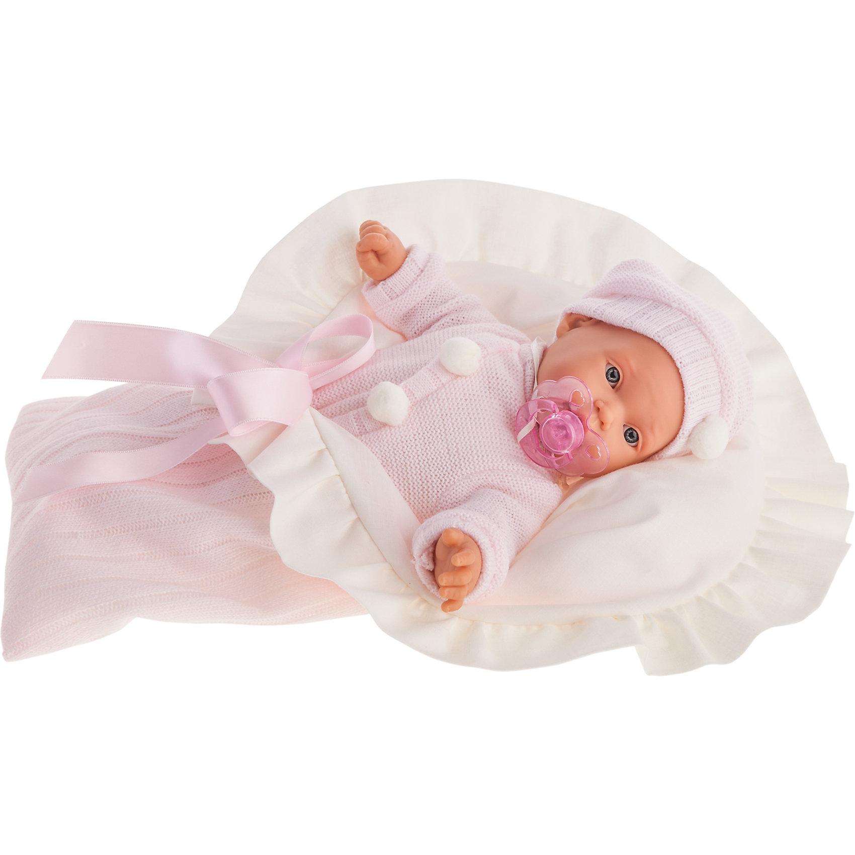 Кукла Ланита в розовом, плачущая, 27 см, Munecas Antonio JuanКлассические куклы<br>Характеристики товара:<br><br>• возраст: от 3 лет;<br>• материал: винил, текстиль;<br>• в комплекте: кукла, костюм, шапочка, соска, одеяло;<br>• тип батареек: 3 батарейки АА;<br>• наличие батареек: демонстрационные в комплекте;<br>• высота куклы: 27 см;<br>• размер упаковки: 38х24х10 см;<br>• вес упаковки: 655 гр.;<br>• страна производитель: Испания.<br><br>Кукла Ланита в розовом Munecas Antonio Juan — очаровательная девочка с выразительными глазками, длинными ресничками и пухлыми щечкам. Кукла одета в теплый костюмчик и шапочку. В комплекте уютное мягкое одеяло для спокойного сна.<br><br>У куклы подвижные ручки и ножки. Ланита умеет плакать. Если куколка заплачет, надо дать ей соску и успокоить ее. Игра с куклой привьет девочке чувство заботы, помощи, ответственности и любви. Кукла выполнена из качественных безопасных материалов.<br><br>Куклу Ланиту в розовом Munecas Antonio Juan можно приобрести в нашем интернет-магазине.<br><br>Ширина мм: 50<br>Глубина мм: 26<br>Высота мм: 16<br>Вес г: 1770<br>Возраст от месяцев: 36<br>Возраст до месяцев: 2147483647<br>Пол: Женский<br>Возраст: Детский<br>SKU: 5367051
