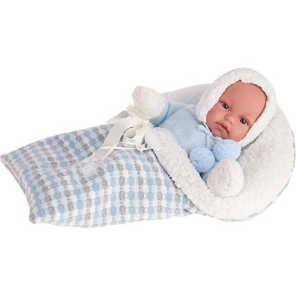 Кукла-младенец Луиc, озвученная, 34 см, Munecas Antonio JuanБренды кукол<br>Характеристики товара:<br><br>• возраст: от 3 лет;<br>• материал: винил, текстиль;<br>• в комплекте: кукла, одежда, конверт;<br>• высота куклы: 34 см;<br>• размер упаковки: 44х24х12 см;<br>• вес упаковки: 1,33 кг;<br>• страна производитель: Испания.<br><br>Кукла-младенец Луис Munecas Antonio Juan — очаровательный малыш с пухлыми щечками и выразительными глазками. Кукла одета в вязаный голубой костюмчик и шапочку. В комплекте теплый и мягкий конверт для прогулок и сна. <br><br>У куклы подвижные ручки и ножки. При нажатии на кнопку на животике куколка смеется и произносит «папа» и «мама». Игра с куклой привьет девочке чувство заботы, помощи, ответственности и любви. Кукла выполнена из качественных безопасных материалов.<br><br>Куклу-младенца Луис Munecas Antonio Juan можно приобрести в нашем интернет-магазине.<br>Ширина мм: 440; Глубина мм: 245; Высота мм: 120; Вес г: 7302; Возраст от месяцев: 36; Возраст до месяцев: 2147483647; Пол: Женский; Возраст: Детский; SKU: 5367052;