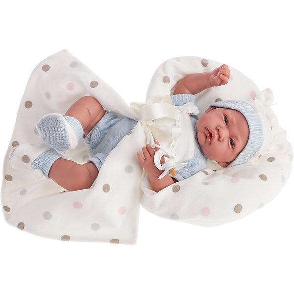 Кукла Санти в голубом, озвученная, 40 см, Munecas Antonio JuanКуклы<br>Характеристики товара:<br><br>• возраст: от 3 лет;<br>• материал: винил, текстиль;<br>• в комплекте: кукла, одежда, одеяло;<br>• высота куклы: 40 см;<br>• размер упаковки: 48х26х19 см;<br>• вес упаковки: 1,47 кг;<br>• страна производитель: Испания.<br><br>Кукла Санти в голубом Munecas Antonio Juan — очаровательный малыш с пухлыми щечками и выразительными глазками. Кукла одета в вязаный голубой костюмчик, шапочку и пинетки. В комплекте теплое одеяло для прогулок и сна. <br><br>У куклы подвижные ручки и ножки. При нажатии на кнопку на животике куколка смеется и произносит «папа» и «мама». Игра с куклой привьет девочке чувство заботы, помощи, ответственности и любви. Кукла выполнена из качественных безопасных материалов.<br><br>Куклу Санти в голубом Munecas Antonio Juan можно приобрести в нашем интернет-магазине.<br>Ширина мм: 175; Глубина мм: 100; Высота мм: 310; Вес г: 630; Возраст от месяцев: 36; Возраст до месяцев: 2147483647; Пол: Женский; Возраст: Детский; SKU: 5367053;