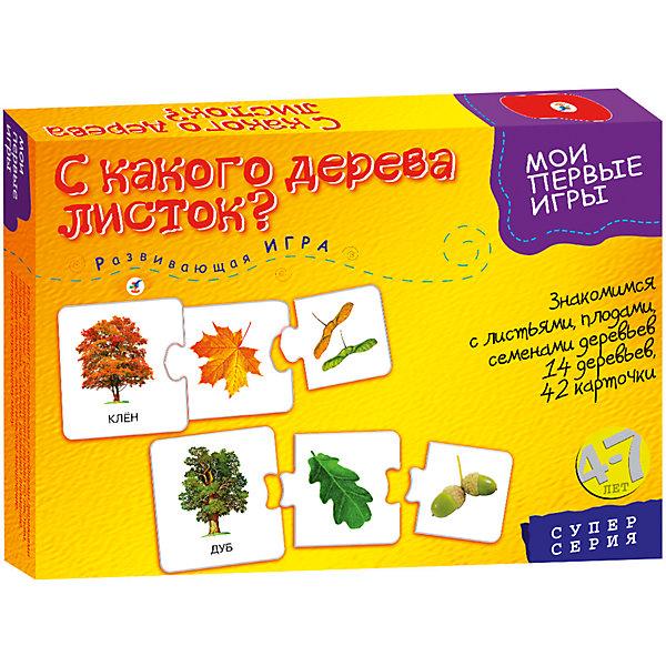 Развивающая игра С какого дерева листок, Дрофа-МедиаОкружающий мир<br>Характеристики развивающей игры С какого дерева листок:<br><br>- возраст: от 4 до 7 лет<br>- пол: для мальчиков и девочек<br>- комплект: 42 игровые карточки, правила.<br>- количество предполагаемых игроков: 1-4.<br>- время игры: 10-20 мин.<br>- материал: картон.<br>- размер упаковки: 28 * 20 * 4 см.<br>- упаковка: картонная коробка.<br>- бренд: Дрофа-Медиа<br>- страна обладатель бренда: Россия.<br><br>Познавательная настольная игра С какого дерева листок? научит ребенка узнавать определенное дерево по внешнему виду ствола, кроны, а также по форме листьев и плодам. В игре собрано 14 деревьев. Чтобы начать игру, необходимо разложить на поверхности 42 карточки, которые вставляются друг в друга как элементы пазла. На самой большой карточке нарисовано конкретное дерево, а под ним написано, как оно называется. На картинке среднего и маленького размера ребенок найдет его части: листья, плоды и т.д.<br><br>Развивающую игру С какого дерева листок издательства Дрофа-Медиа  можно купить в нашем интернет-магазине.<br>Ширина мм: 280; Глубина мм: 35; Высота мм: 200; Вес г: 200; Возраст от месяцев: 48; Возраст до месяцев: 2147483647; Пол: Унисекс; Возраст: Детский; SKU: 5367078;