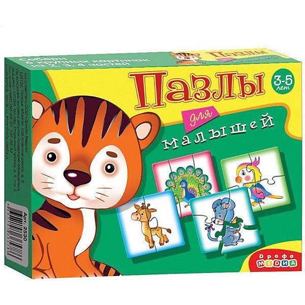 Пазлы для малышей Тигрёнок, Дрофа-МедиаПазлы для малышей<br>Характеристики пазлов для малышей Тигрёнок:<br><br>- возраст: от 3 лет<br>- пол: для мальчиков и девочек<br>- комплект: элементы пазлов.<br>- материал: картон.<br>- размер упаковки: 17 * 3 * 13 см.<br>- вес: 90 г.<br>- упаковка: картонная коробка.<br>- бренд: Дрофа-Медиа<br>- страна обладатель бренда: Россия.<br><br>В набор пазлов «Тигренок» входят изображения мышки, жирафа и других забавных животных. Собрать их смогут даже совсем еще маленькие дети, ведь максимальное число элементов в любом из пазлов не превышает четырех. Благодаря ярким и красочным картинкам, дети смогут познакомиться с новыми животными. Готовый пазл в любой момент можно будет разобрать, а после собрать снова.<br><br>Пазлы для малышей Тигрёнок издательства Дрофа-Медиа можно купить в нашем интернет-магазине.<br>Ширина мм: 170; Глубина мм: 30; Высота мм: 130; Вес г: 110; Возраст от месяцев: 36; Возраст до месяцев: 2147483647; Пол: Унисекс; Возраст: Детский; Количество деталей: 4; SKU: 5367081;