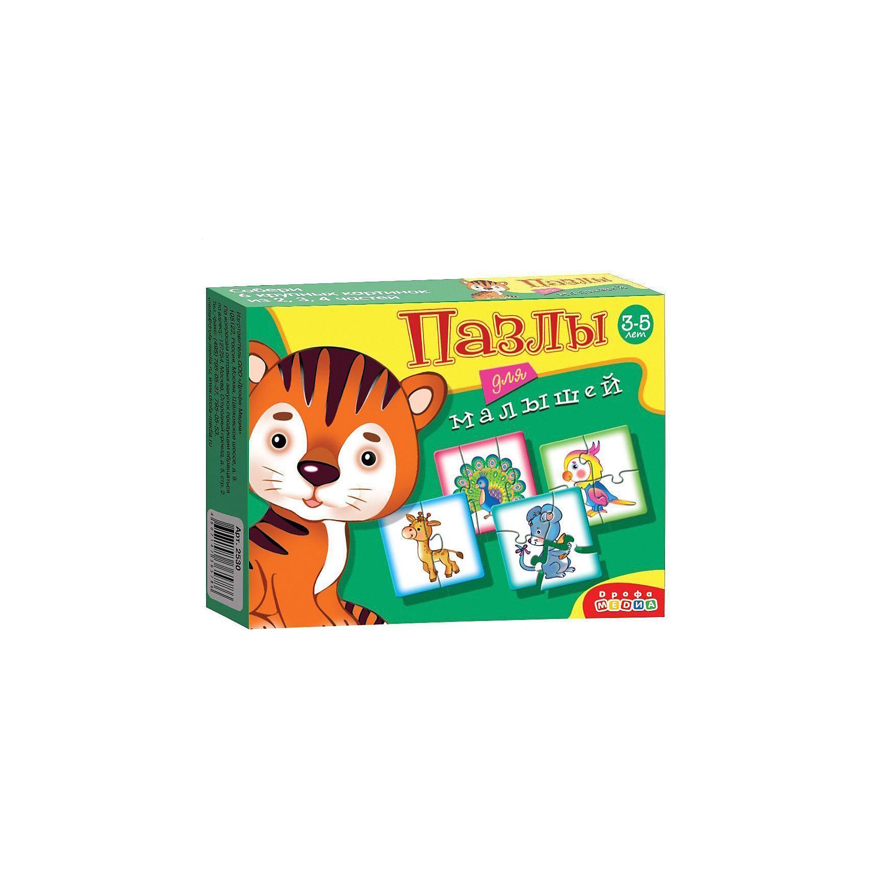 Пазлы для малышей Тигрёнок, Дрофа-МедиаХарактеристики пазлов для малышей Тигрёнок:<br><br>- возраст: от 3 лет<br>- пол: для мальчиков и девочек<br>- комплект: элементы пазлов.<br>- материал: картон.<br>- размер упаковки: 17 * 3 * 13 см.<br>- вес: 90 г.<br>- упаковка: картонная коробка.<br>- бренд: Дрофа-Медиа<br>- страна обладатель бренда: Россия.<br><br>В набор пазлов «Тигренок» входят изображения мышки, жирафа и других забавных животных. Собрать их смогут даже совсем еще маленькие дети, ведь максимальное число элементов в любом из пазлов не превышает четырех. Благодаря ярким и красочным картинкам, дети смогут познакомиться с новыми животными. Готовый пазл в любой момент можно будет разобрать, а после собрать снова.<br><br>Пазлы для малышей Тигрёнок издательства Дрофа-Медиа можно купить в нашем интернет-магазине.<br><br>Ширина мм: 170<br>Глубина мм: 30<br>Высота мм: 130<br>Вес г: 110<br>Возраст от месяцев: 36<br>Возраст до месяцев: 2147483647<br>Пол: Унисекс<br>Возраст: Детский<br>Количество деталей: 4<br>SKU: 5367081
