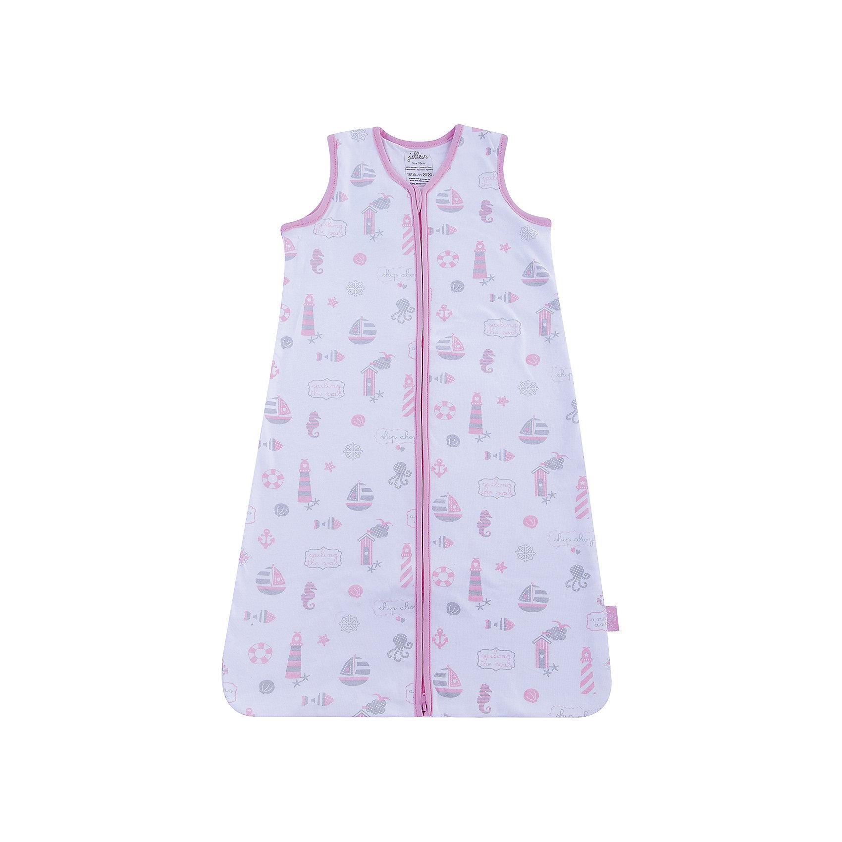 Спальный мешок 70 см, Jollein, Girls at seaСпальные мешки для новорожденных - это очень практичная замена одеялу. Малыш не сможет сбросить с себя, или наоборот закрыть себя с головой, что происходит, когда малыша накрывают одеялом. Малышу будет всегда комфортно и тепло в прохладное ночное время. Спальные мешки предотвращают риски удушения. Удобные просторные формы позволят малышу занять привычную для сна позу. Различные варианты исполнения и материалы позволяют использовать спальник для новорожденного и летом, и зимой. Удобные замочки по всей длине спального мешка позволяют менять подгузники, не снимая сам спальный мешок. Нахождение в спальнике напоминает ребенку его ощущения в перинатальный период. Это способствует спокойному сну малыша, дает ему чувство защищенности. Спальный мешок сделан из 100% хлопка (2 слоя джерси) без утеплителя. Очень мягкий и легкий, молния застегивается сверху вниз, что позволяет легко менять подгузники, не снимая мешочек. Подойдет для использования в жаркую погоду летом или дома. Тог 0,6 – коэффициент тепла, т.е. без дополнительного нательного белья комфортная температура использования – 26 гр. Если температура ниже, то регулировать температуру нательным бельем (например, добавить боди, пижаму, комбинезон) или использовать спальный мешок с большим тог - 1.7 или 1.2<br><br>Ширина мм: 190<br>Глубина мм: 260<br>Высота мм: 20<br>Вес г: 172<br>Возраст от месяцев: 0<br>Возраст до месяцев: 36<br>Пол: Унисекс<br>Возраст: Детский<br>SKU: 5367119