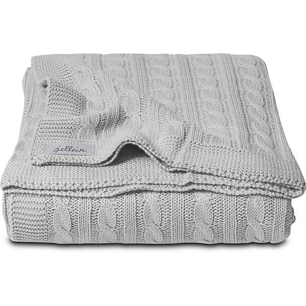 Вязаный плед (косичка) 75х100 см, Jollein, Light grey