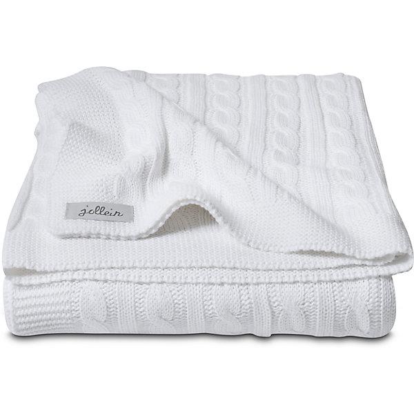 Вязаный плед (косичка) 75х100 см, Jollein, White