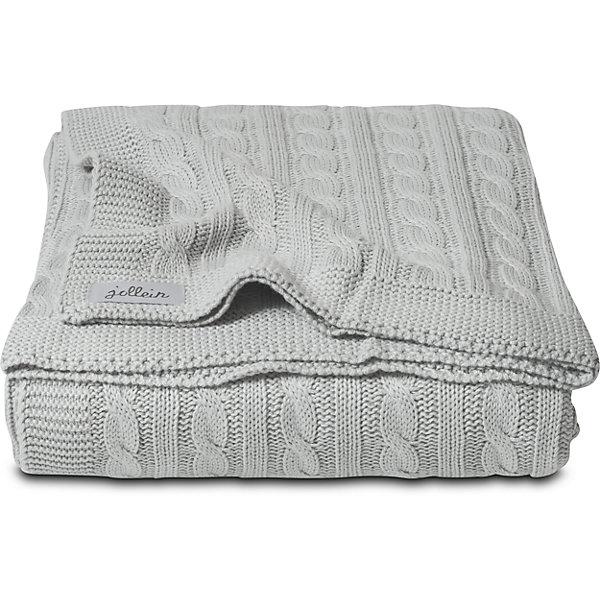 Вязаный плед (косичка) 100х150 см, Jollein, Light grey