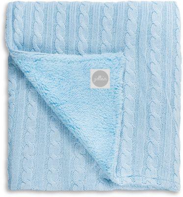 Вязаный плед (косичка) с мехом 100х150 см, Jollein, Light blue