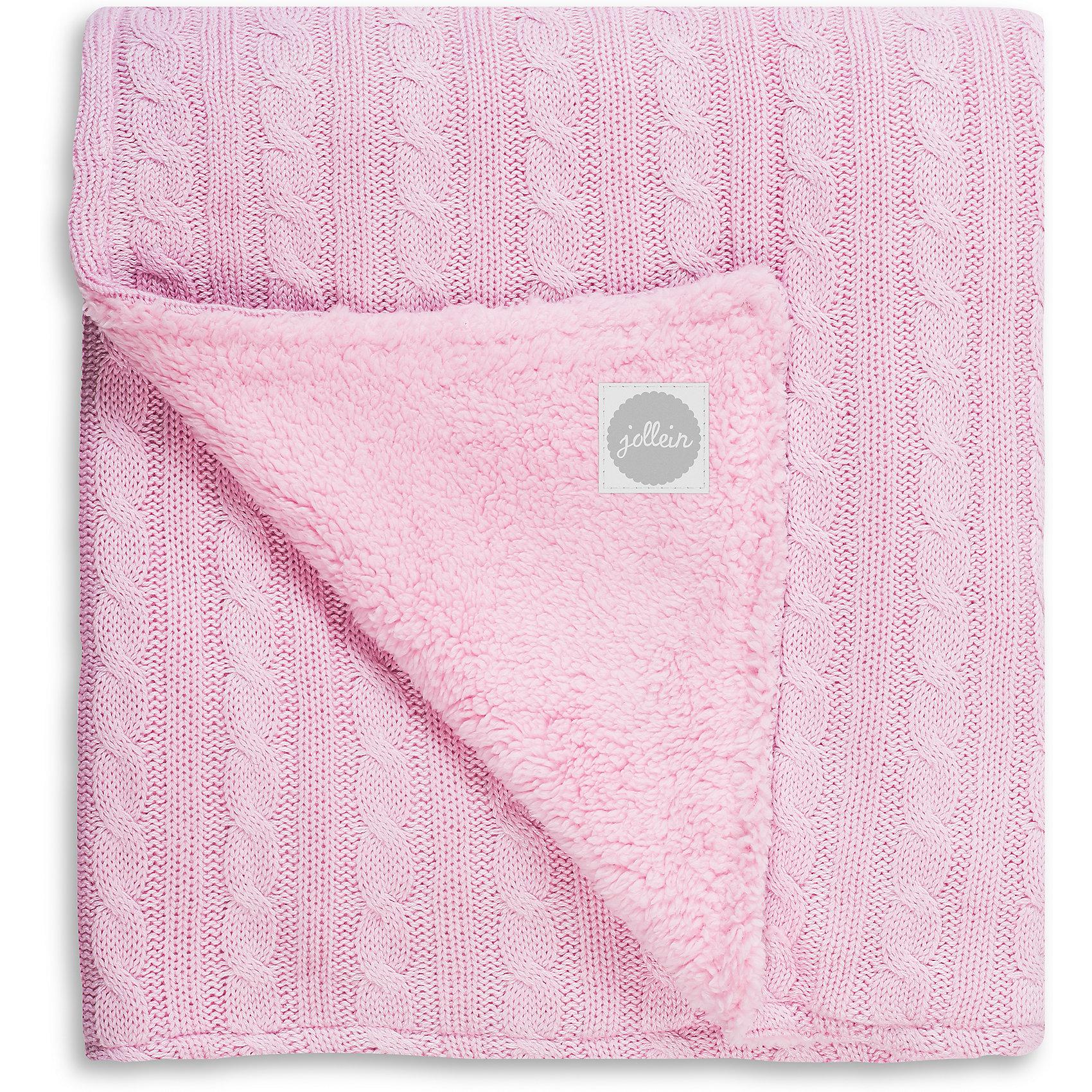 Вязаный плед (косичка) с мехом 100х150 см, Jollein, Light pinkРоскошный вязаный плед с мехом обеспечит Вашему малышу тепло и уют в прохладную погоду. Сочетание меха и вязанных кос смотрится очень модно и стильно. Ваш малыш будет смотреться эффектно и празднично. Украсьте таким пледом детскую кроватку, коляску. Отличный подарок на рождение, на выписку. Состав: 50 % хлопок, 50 % акрил, мех из мягкой шерпы (искусственный мех). В сочетании хлопка с акрилом акрил делает плед теплее, прочнее, легче и практичнее. Акрил называют искусственной шерстью. Сама ткань (акрил) обладает гипоаллергенными и антибактериальными свойствами. Ко всему тому, акрил имеет свойство не притягивать пыль, а потому использование пледа из такого материала будет прекрасным выходом из ситуации для аллергиков - он легче отстирывается и быстрее сохнет. А хлопок улучшает гигроскопичность и дышащие качества такого пледа. Размер: 100х150см. Уход: рекомендуется стирка при 40 градусах.<br><br>Ширина мм: 260<br>Глубина мм: 320<br>Высота мм: 100<br>Вес г: 1010<br>Возраст от месяцев: 0<br>Возраст до месяцев: 36<br>Пол: Унисекс<br>Возраст: Детский<br>SKU: 5367182