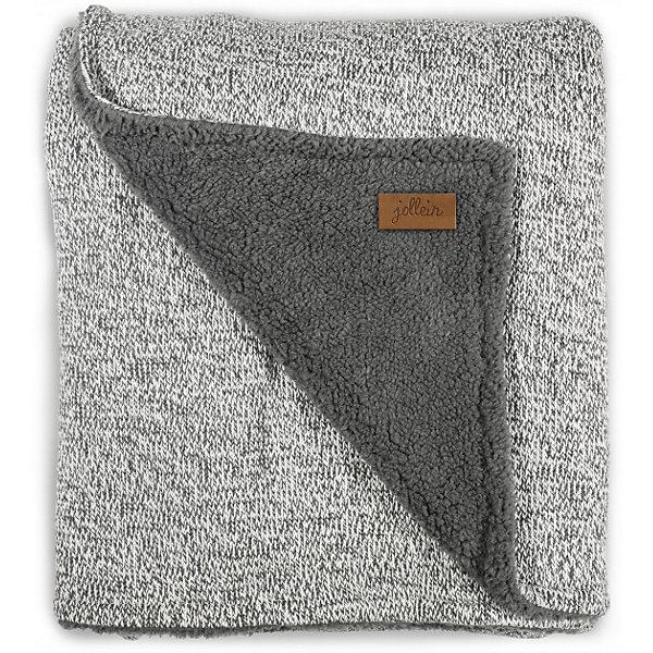 Вязаный плед с мехом 100х150 см, Jollein, Stonewashed knit grey