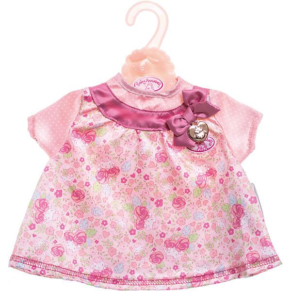 Платье для куклы, розовое, Baby AnnabellОдежда для кукол<br>Характеристики:<br><br>• Тип одежды для куклы: платье<br>• Предназначение: для сюжетно-ролевых игр<br>• Для куклы: BABY Annabell<br>• Рост куклы/пупса: от 46 см<br>• Тематика рисунка: цветы, горох<br>• Материал: текстиль <br>• Декор бантом<br>• Застежка: липучка на спинке<br>• В комплекте предусмотрена вешалка<br>• Вес: 94 г<br>• Размеры упаковки (Д*В*Ш): 32*32*1 см<br>• Упаковка: блистер <br>• Особенности ухода: допускается деликатная стирка без использования красящих и отбеливающих средств <br><br>Платье для куклы, розовое, Baby Annabell от немецкого производителя Zapf Creation предназначено для кукол и пупсов серии BABY Annabell. Выполнено из текстиля высокого качества, который устойчив к изменению цвета и формы. Нежное платье с цветочным принтом выполнено в розовых оттенках. Короткие рукава выполнены из ткани в мелкий белый горошек. <br><br>На кокетке имеется широкий кант с бантом. Сзади на спинке предусмотрена застежка на липучке, благодаря чему легко и удобно будет переодевать куклу. Платье для куклы выполнено с детальным соответствием реальным детским вещам. Сюжетно-ролевые игры с переодеванием кукол способствуют не только приобретению навыков комбинирования предметов гардероба, но и формированию чувства стиля и вкуса у девочки. <br><br>Платье для куклы, розовое, Baby Annabell можно купить в нашем интернет-магазине.<br><br>Ширина мм: 320<br>Глубина мм: 320<br>Высота мм: 10<br>Вес г: 94<br>Возраст от месяцев: 36<br>Возраст до месяцев: 144<br>Пол: Женский<br>Возраст: Детский<br>SKU: 5377578