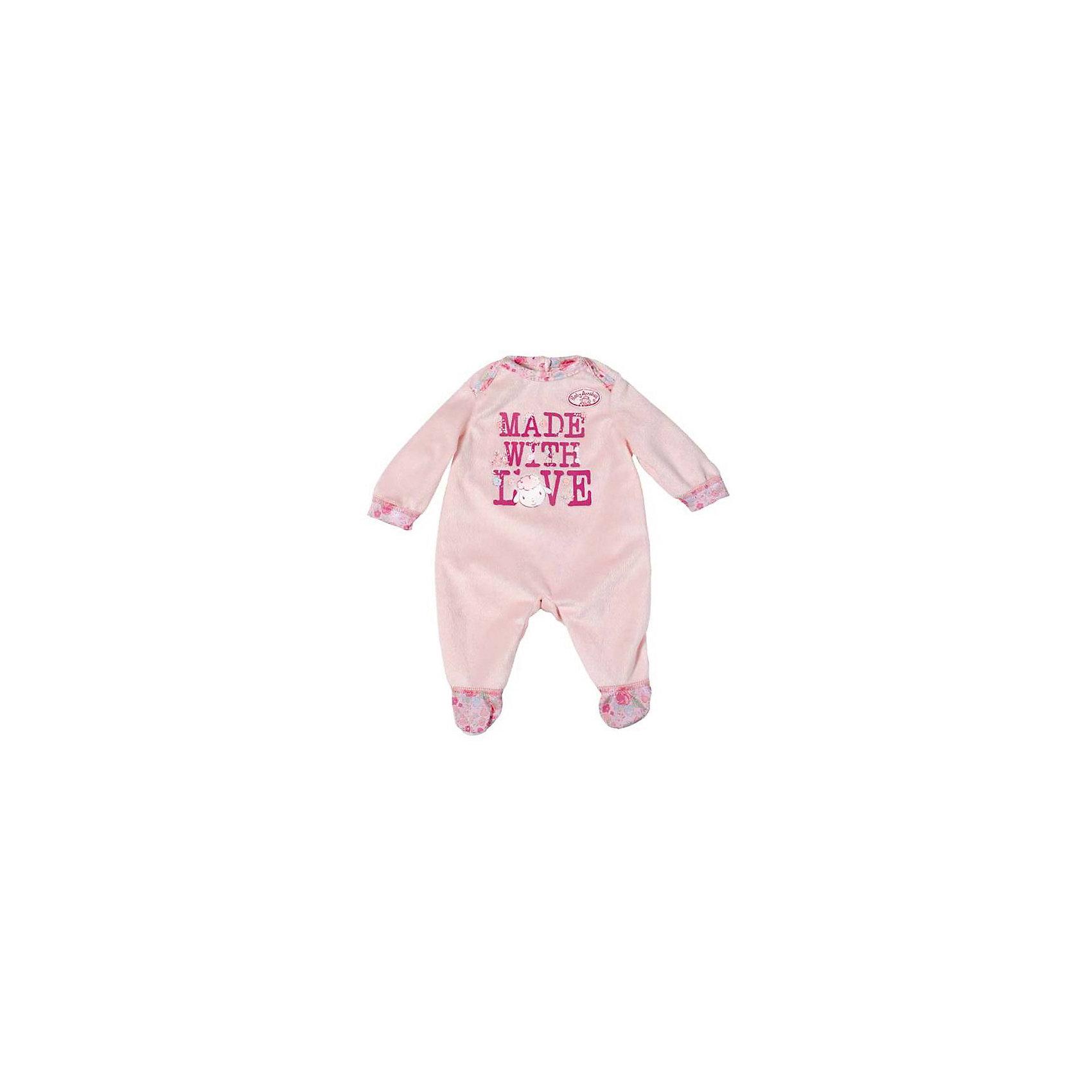 Комбинезончик, розовый с надписью, Baby AnnabellКукольная одежда и аксессуары<br>Характеристики:<br><br>• Тип одежды для куклы: комбинезон<br>• Предназначение: для сюжетно-ролевых игр<br>• Для куклы: BABY Annabell<br>• Рост куклы/пупса: от 46 см<br>• Тематика рисунка: барашек<br>• Материал: текстиль <br>• Декор аппликацией<br>• Застежка: липучка на спинке<br>• В комплекте предусмотрена вешалка<br>• Вес: 124 г<br>• Размеры упаковки (Д*В*Ш): 20*23*3 см<br>• Упаковка: блистер <br>• Особенности ухода: допускается деликатная стирка без использования красящих и отбеливающих средств <br><br>Комбинезончик, розовый с надписью, Baby Annabell от немецкого производителя Zapf Creation предназначено для кукол и пупсов серии BABY Annabell. Выполнен из текстиля высокого качества, который устойчив к изменению цвета и формы. У комбинезончика предусмотрены длинные рукава с манжетами и закрытые штанишки. Сзади на спинке и на плечике предусмотрены застежки на липучках, благодаря чему легко и удобно будет переодевать куклу. <br><br>Изделие декорировано изображением милой овечки и брендовой надписью. Комбинезон для куклы выполнен с детальным соответствием реальным детским вещам. Сюжетно-ролевые игры с переодеванием кукол способствуют не только приобретению навыков комбинирования предметов гардероба, но и формированию чувства стиля и вкуса у девочки. <br><br>Комбинезончик, розовый с надписью, Baby Annabell можно купить в нашем интернет-магазине.<br><br>Ширина мм: 200<br>Глубина мм: 230<br>Высота мм: 30<br>Вес г: 124<br>Возраст от месяцев: 36<br>Возраст до месяцев: 144<br>Пол: Женский<br>Возраст: Детский<br>SKU: 5377580