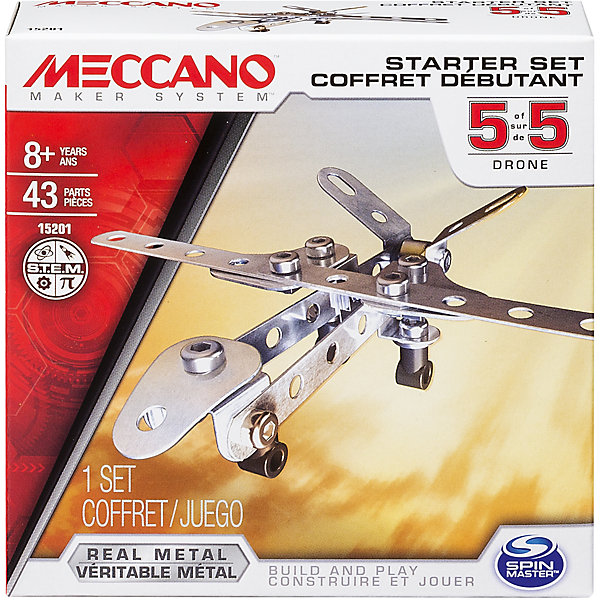 Базовая модель Дрон, MeccanoСамолёты и вертолёты<br>Характеристики товара:<br><br>• возраст: от 8 лет;<br>• материал: металл;<br>• в комплекте: 43 элемента, 2 инструмента, инструкция;<br>• размер упаковки: 12,5х12,5х4,5 см;<br>• вес упаковки: 160 гр.;<br>• страна производитель: Китай.<br><br>Базовая модель «Дрон» Meccano — конструктор из металлических деталей. При помощи инструментов из деталей собирается объемная модель. <br><br>В процессе ребенок знакомится с принципами сборки конструктора, у него развивается мелкая моторика рук, усидчивость, логическое мышление, интеллект.<br><br>Базовую модель «Дрон» Meccano можно приобрести в нашем интернет-магазине.<br><br>Ширина мм: 130<br>Глубина мм: 130<br>Высота мм: 40<br>Вес г: 143<br>Возраст от месяцев: 96<br>Возраст до месяцев: 2147483647<br>Пол: Мужской<br>Возраст: Детский<br>SKU: 5377746